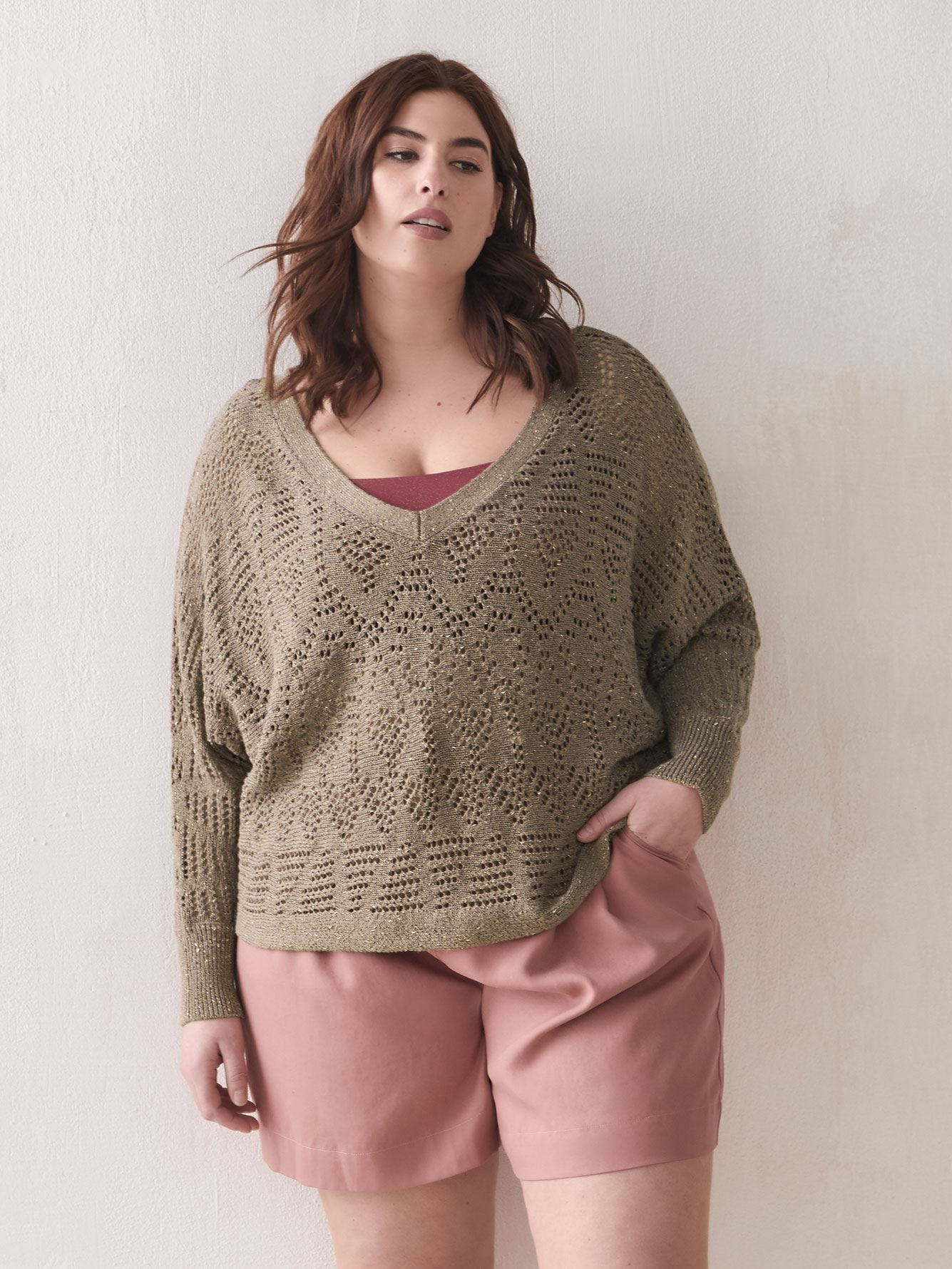 Pointelle Dolman-Sleeve Sweater - Addition Elle
