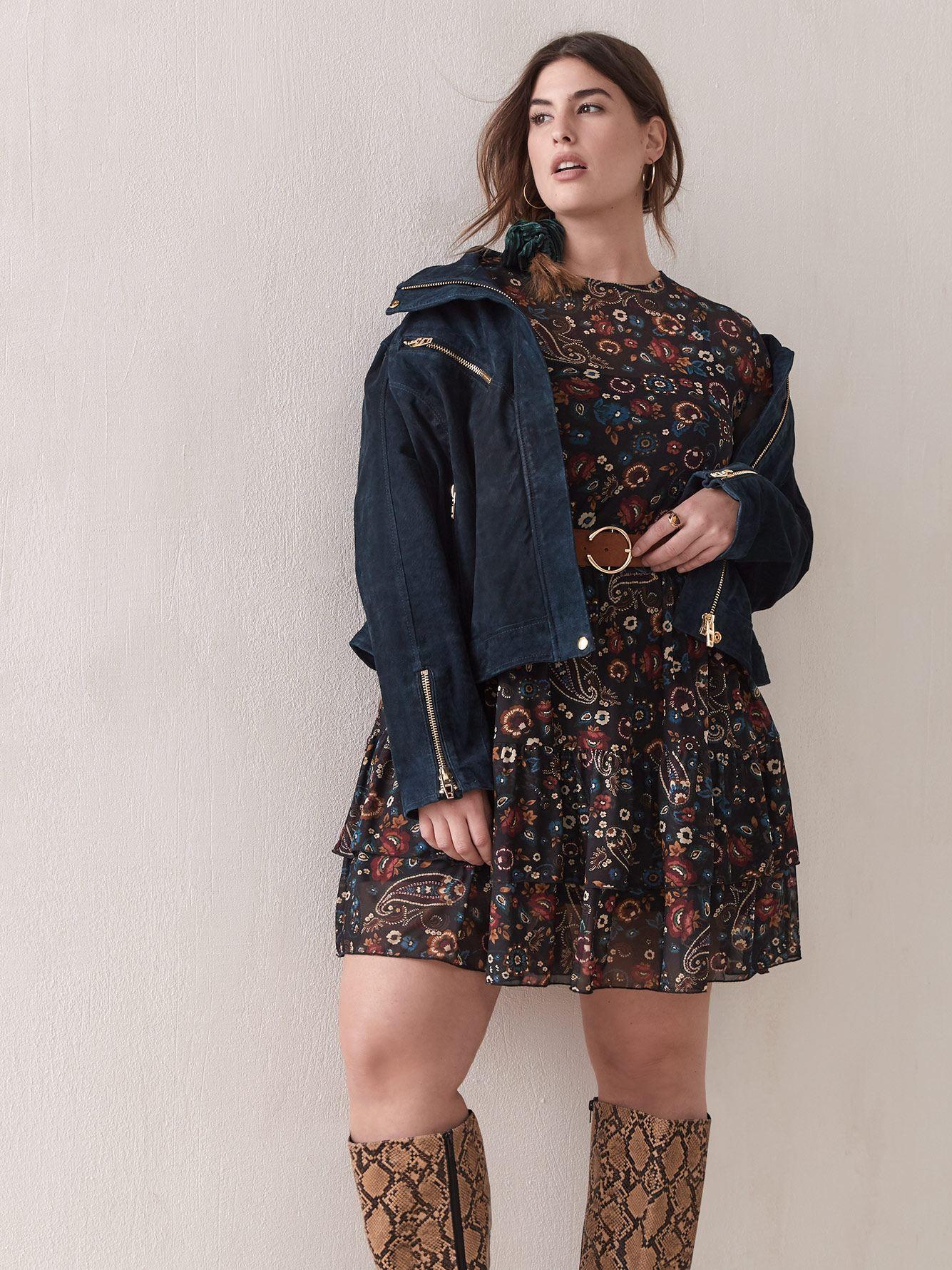 Paisley Ruffle Mesh Dress - Addition Elle