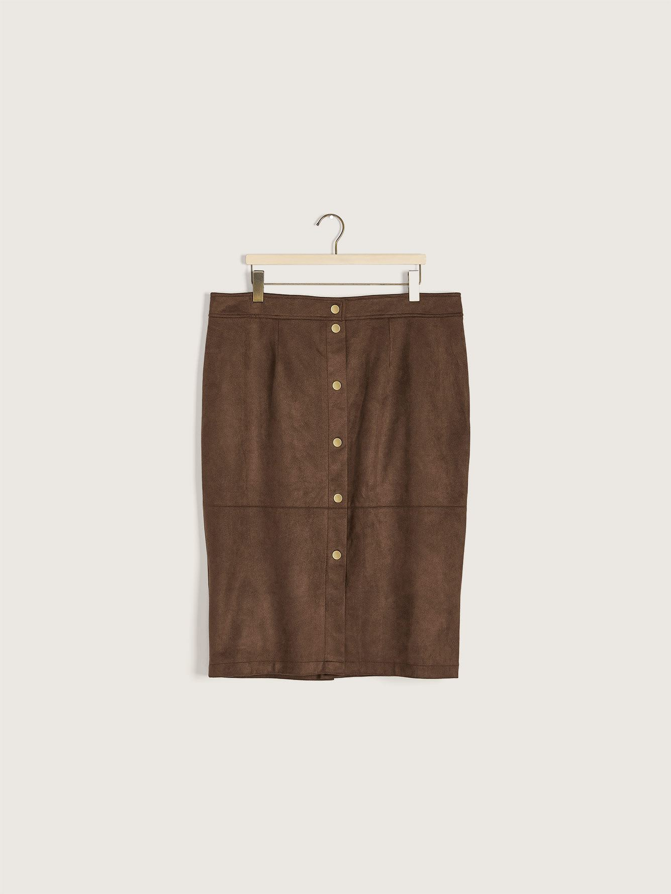 Faux Suede Button-Down Skirt - Addition Elle
