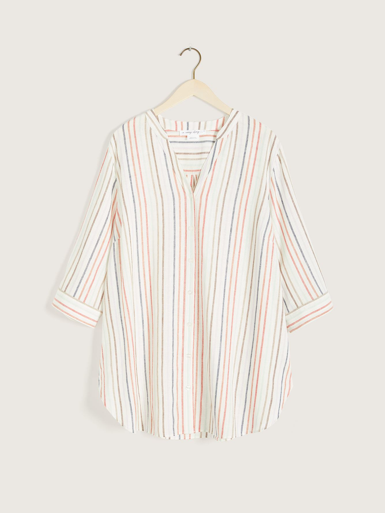 Striped Button-Down 3/4 Sleeve Blouse - In Every Story
