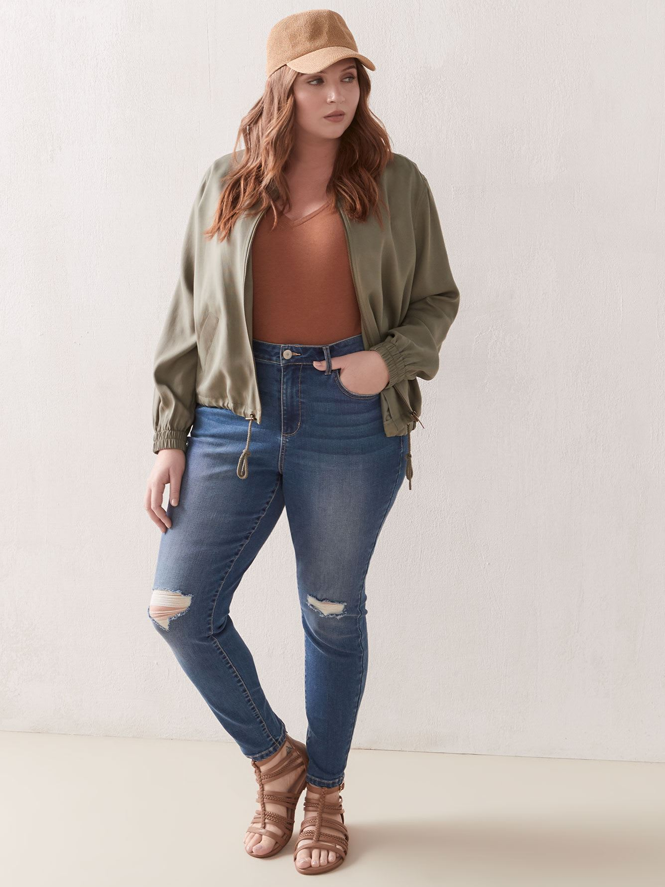 Skinny Mid-Rise Jean with Rip Detail - Addition Elle