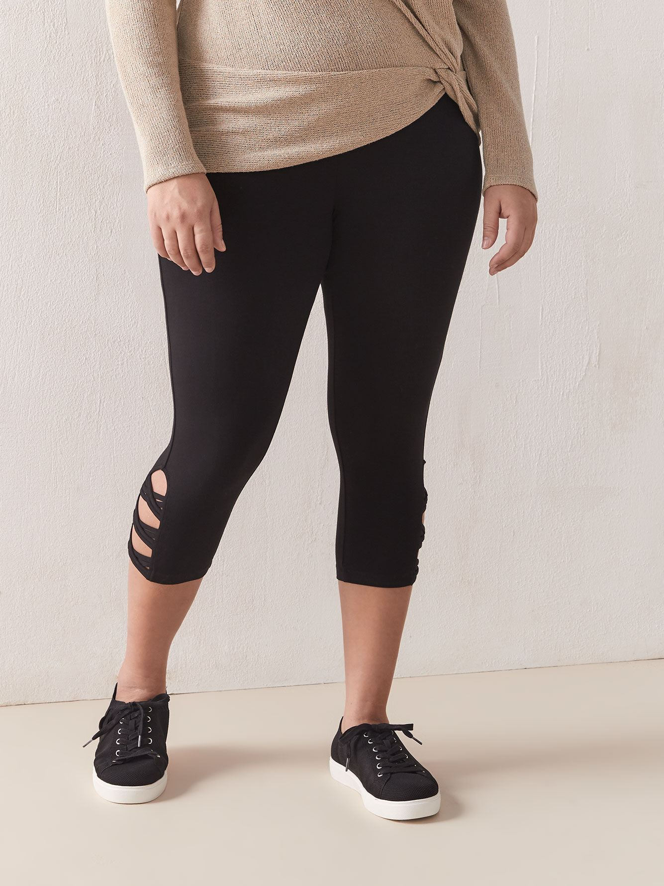 Criss-Cross Detail Capri Legging - Addition Elle