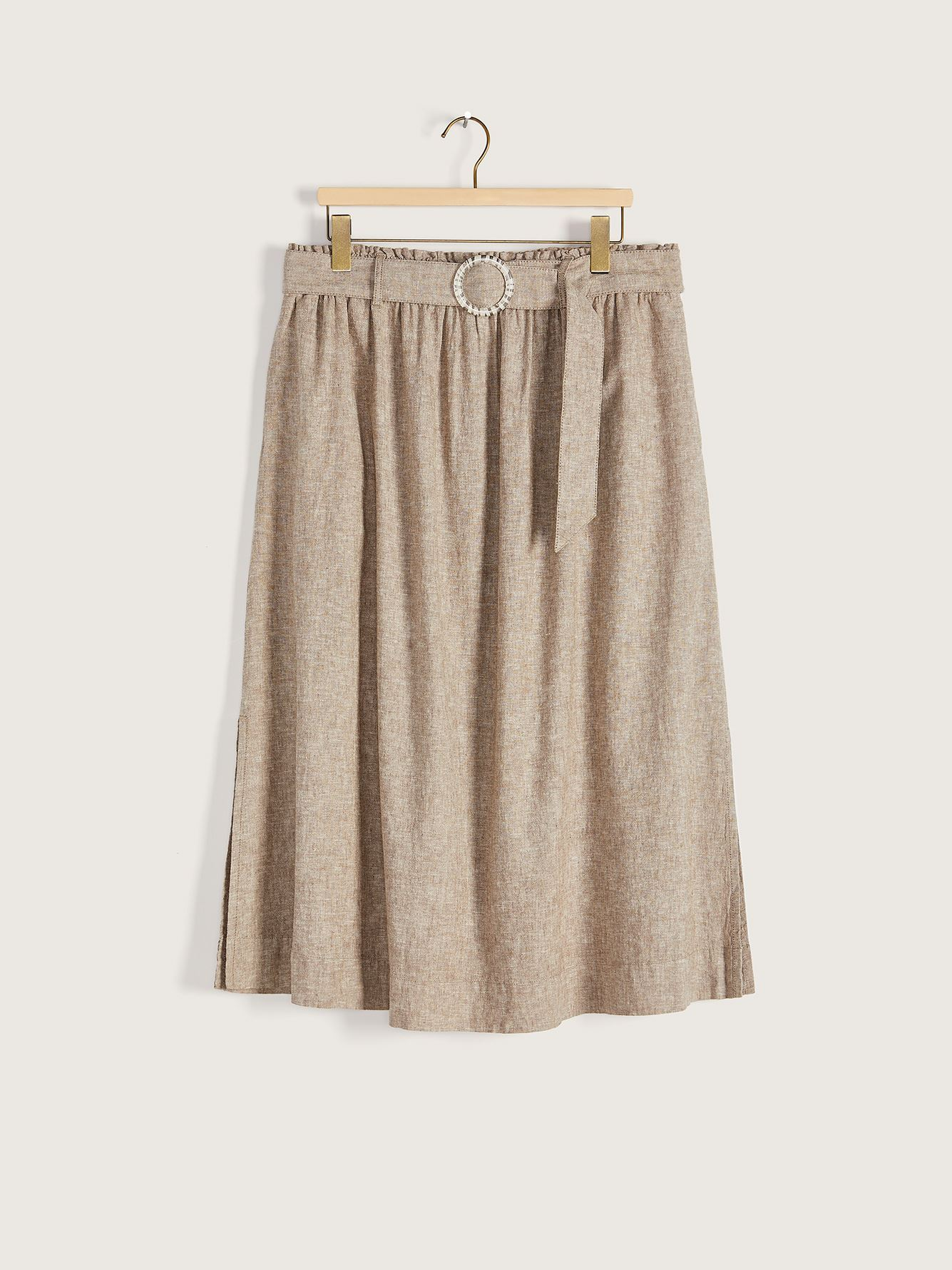 Long Linen High-Waisted Pull-On Skirt - Addition Elle