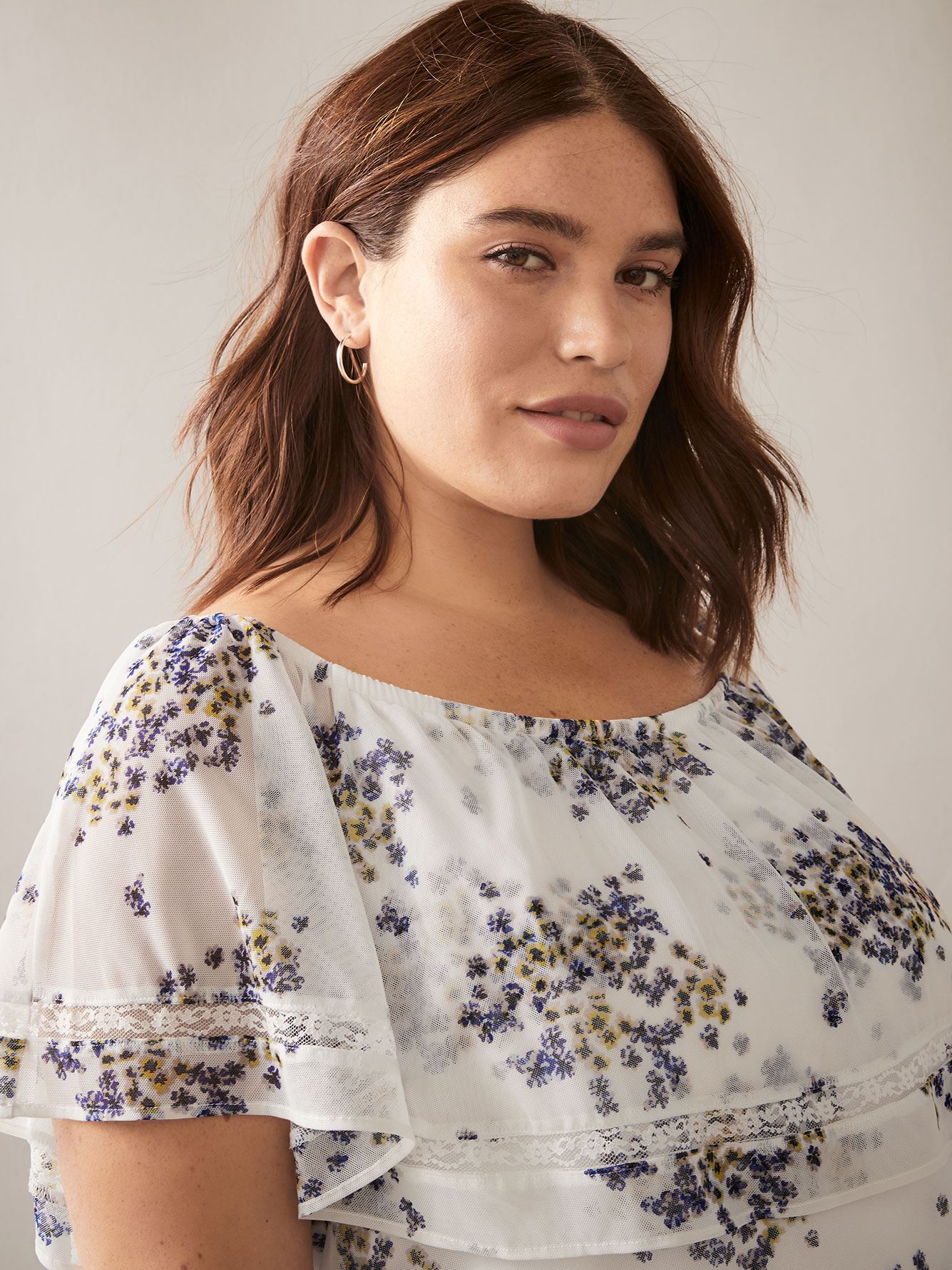 Off-the-Shoulder Printed Mesh Top - In Every Story