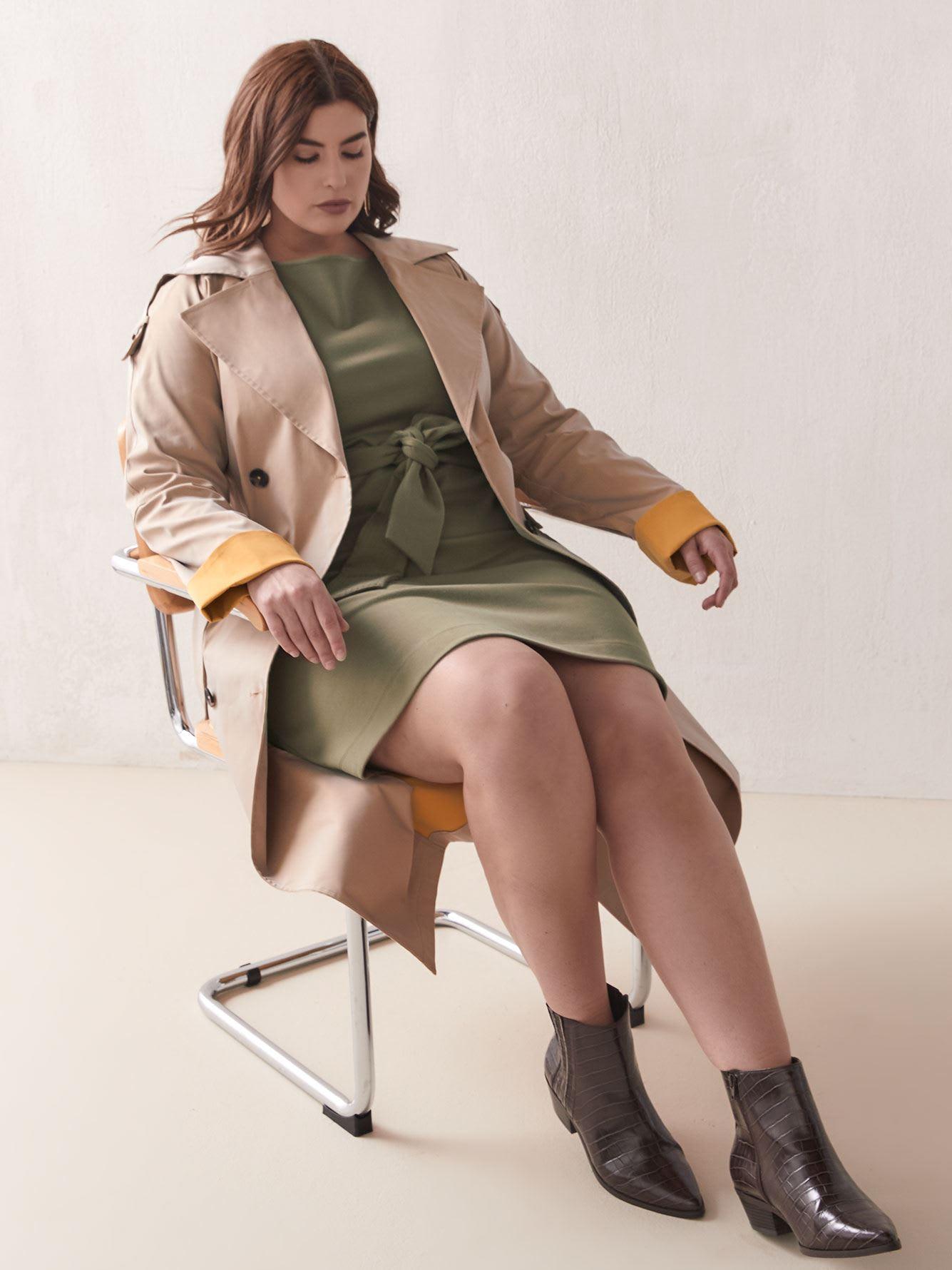 Belted Boat-Neck Dress - Addition Elle