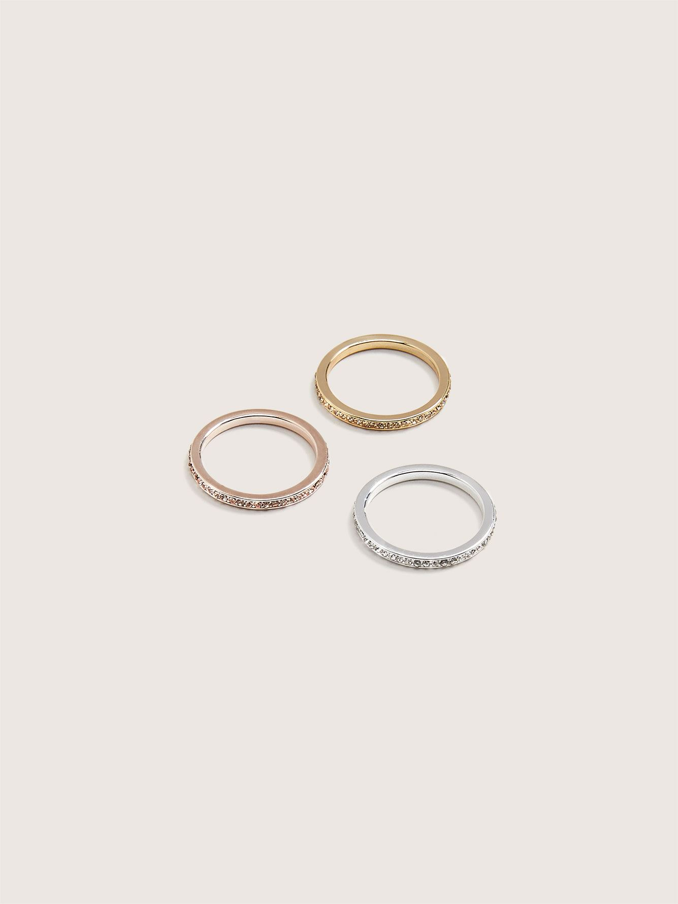 Rhinestone Rings, 3-Pack - Addition Elle