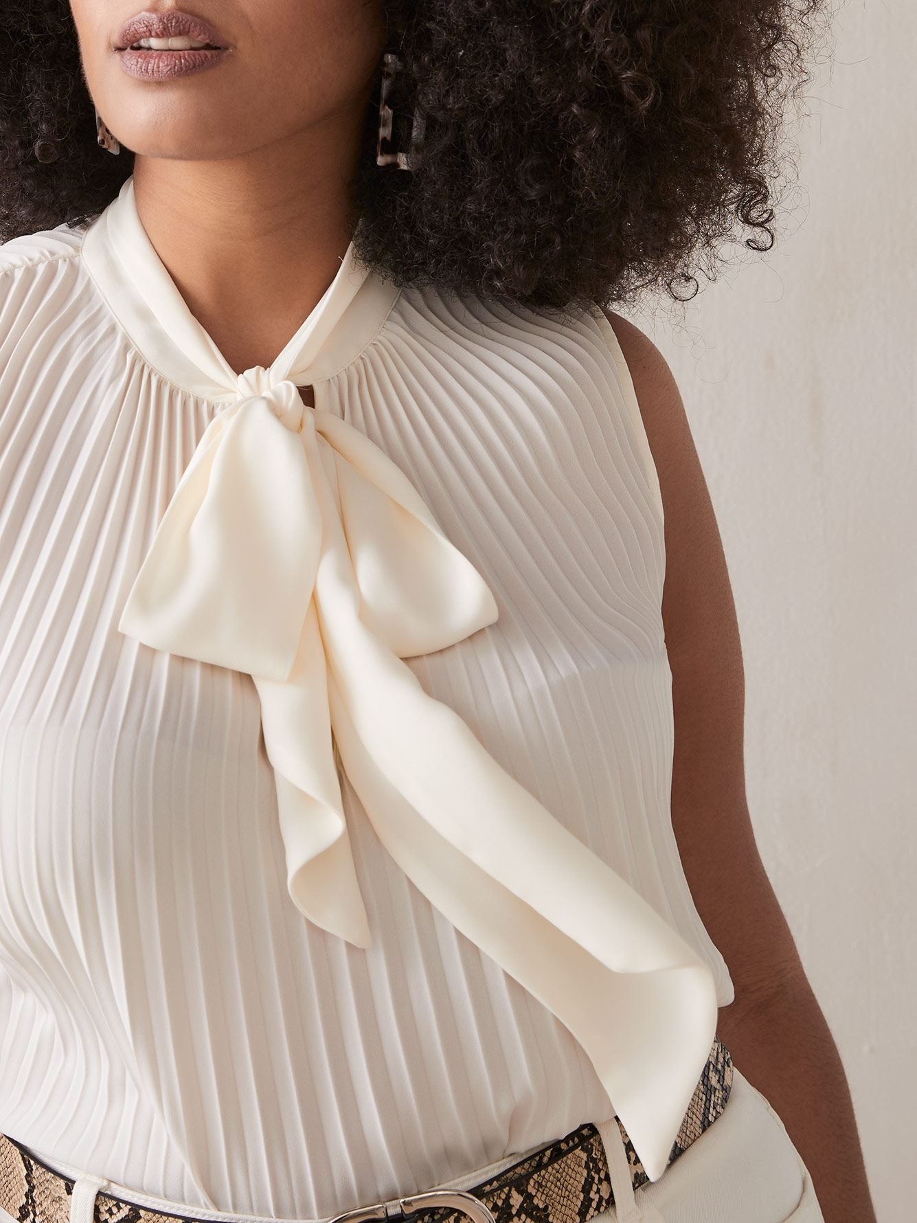 Addition Elle - Pleated Sleeveless Blouse with Bow Neck Tie
