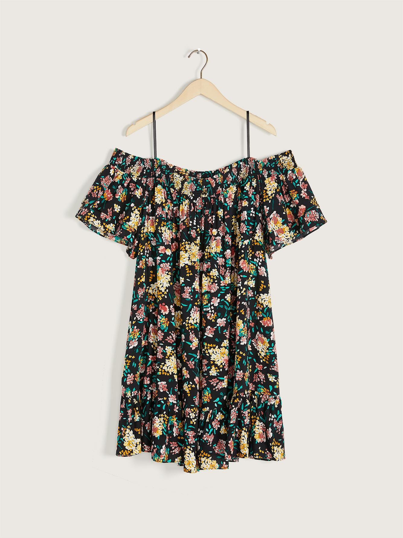 Printed Off-the-Shoulder Dress - Addition Elle