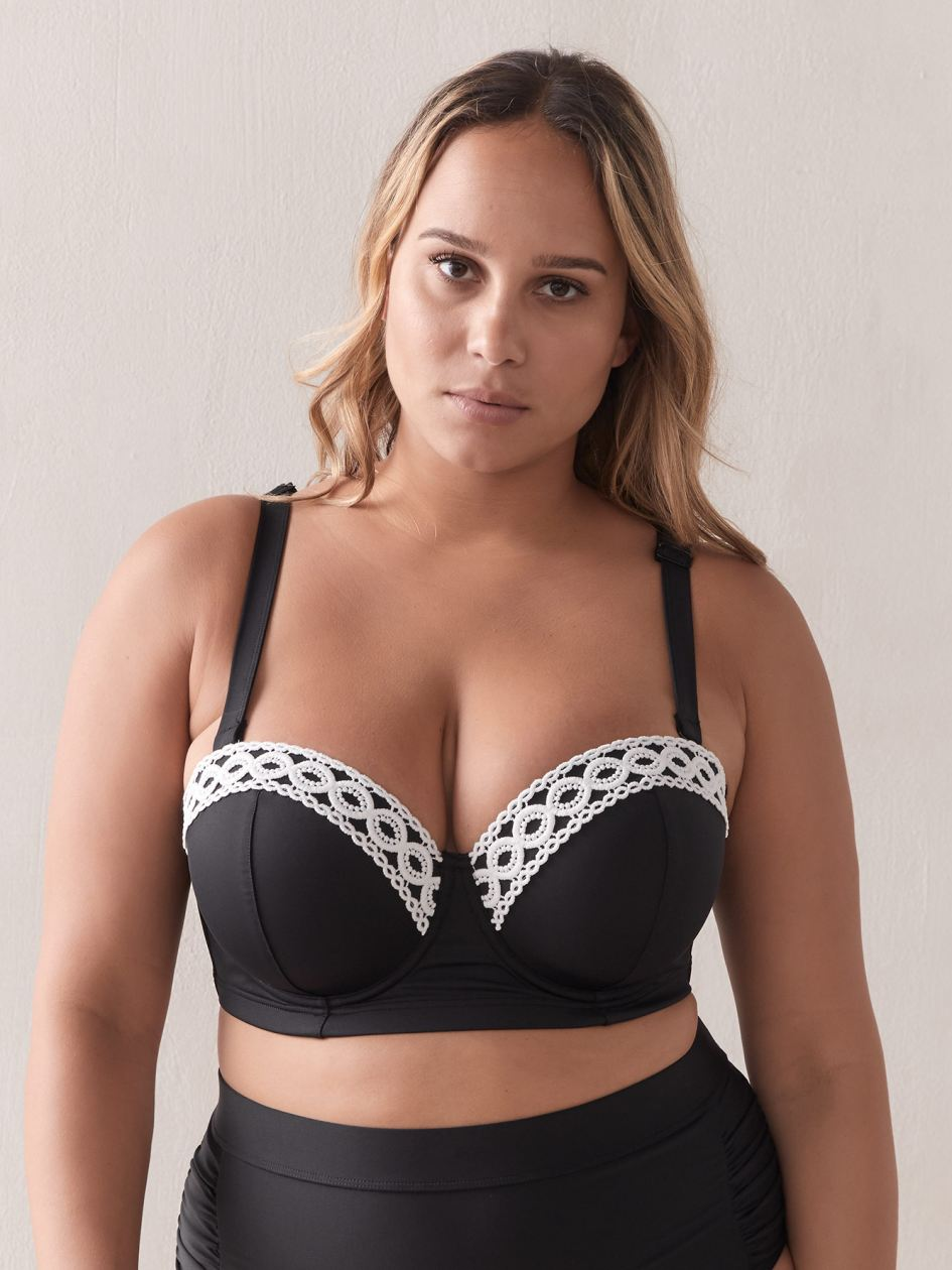 Bra Fit Bikini Top with Crochet Detail - Addition Elle