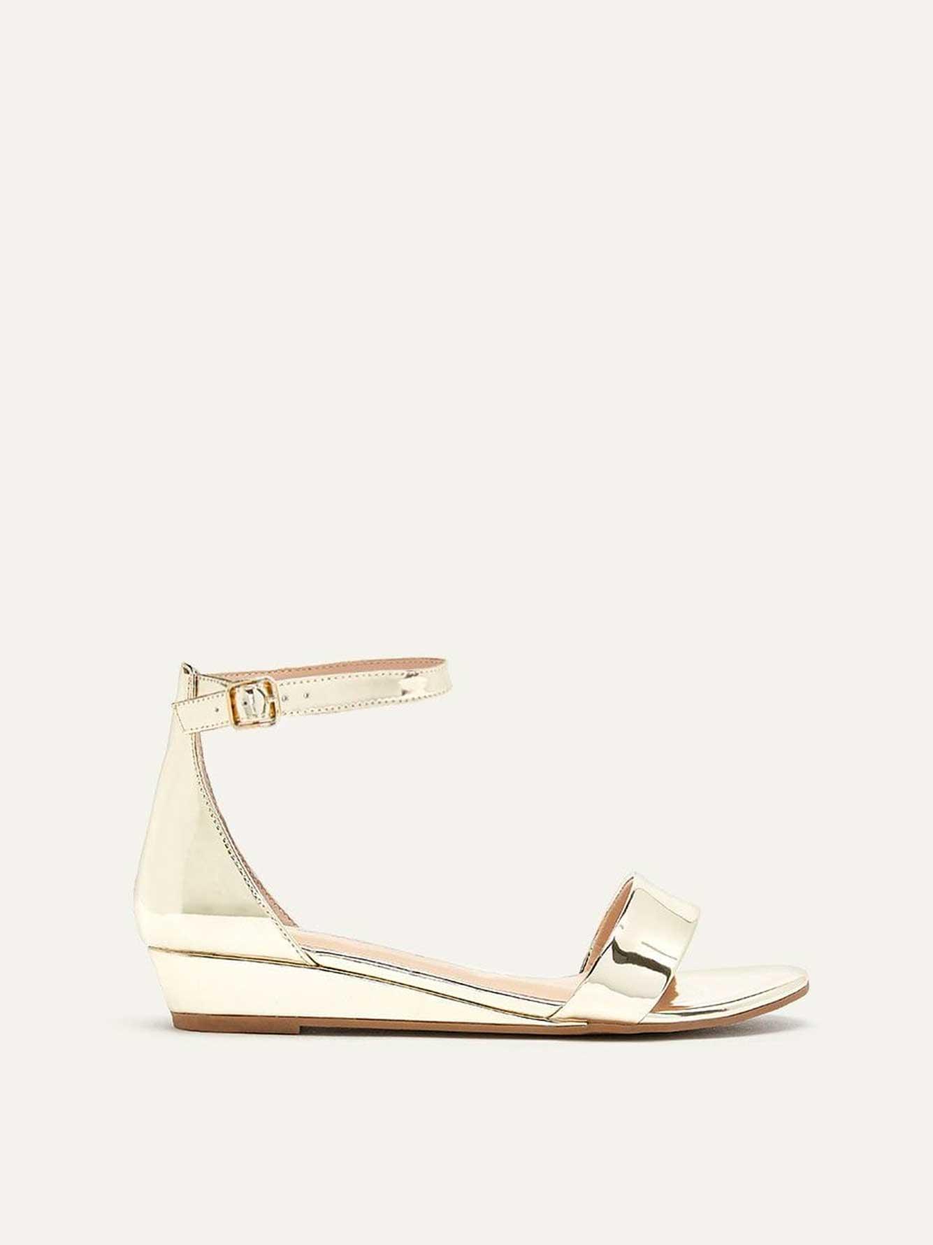 Wide Metallic Wedge Sandals
