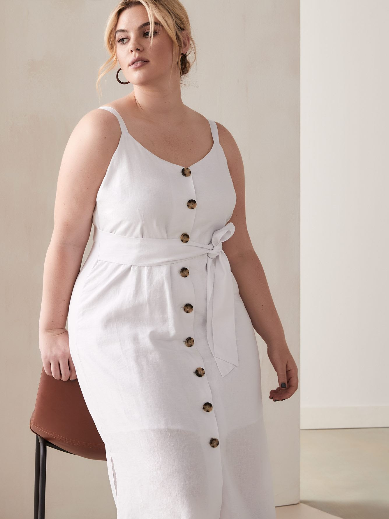 Button-Front Dress with Self-Sash