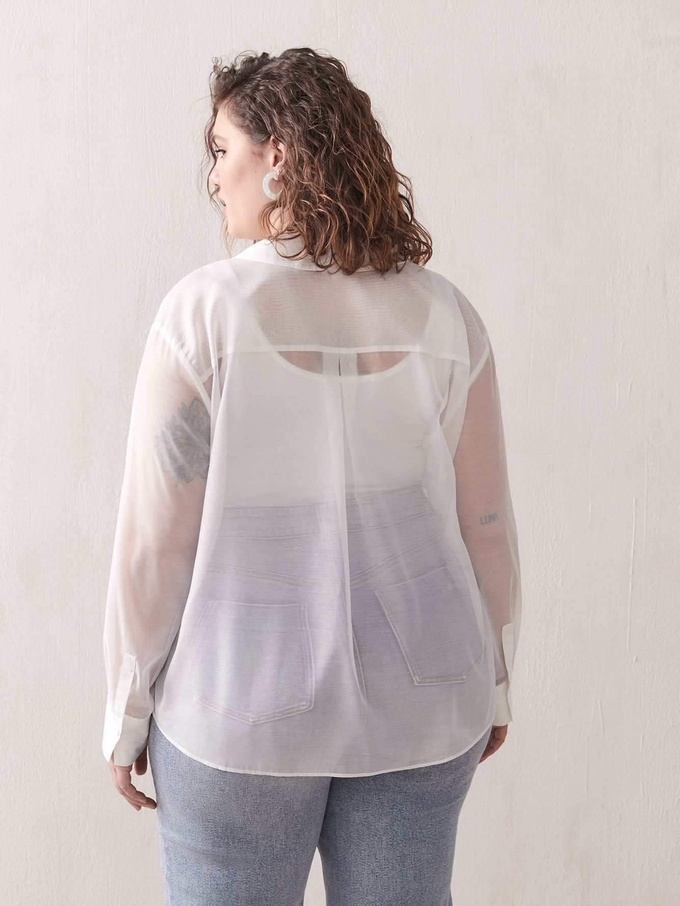 Flap Pocket Organza Shirt - Addition Elle