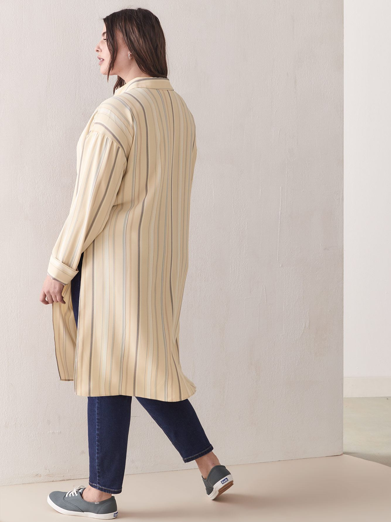 Striped Button-Down Tunic Blouse - Addition Elle