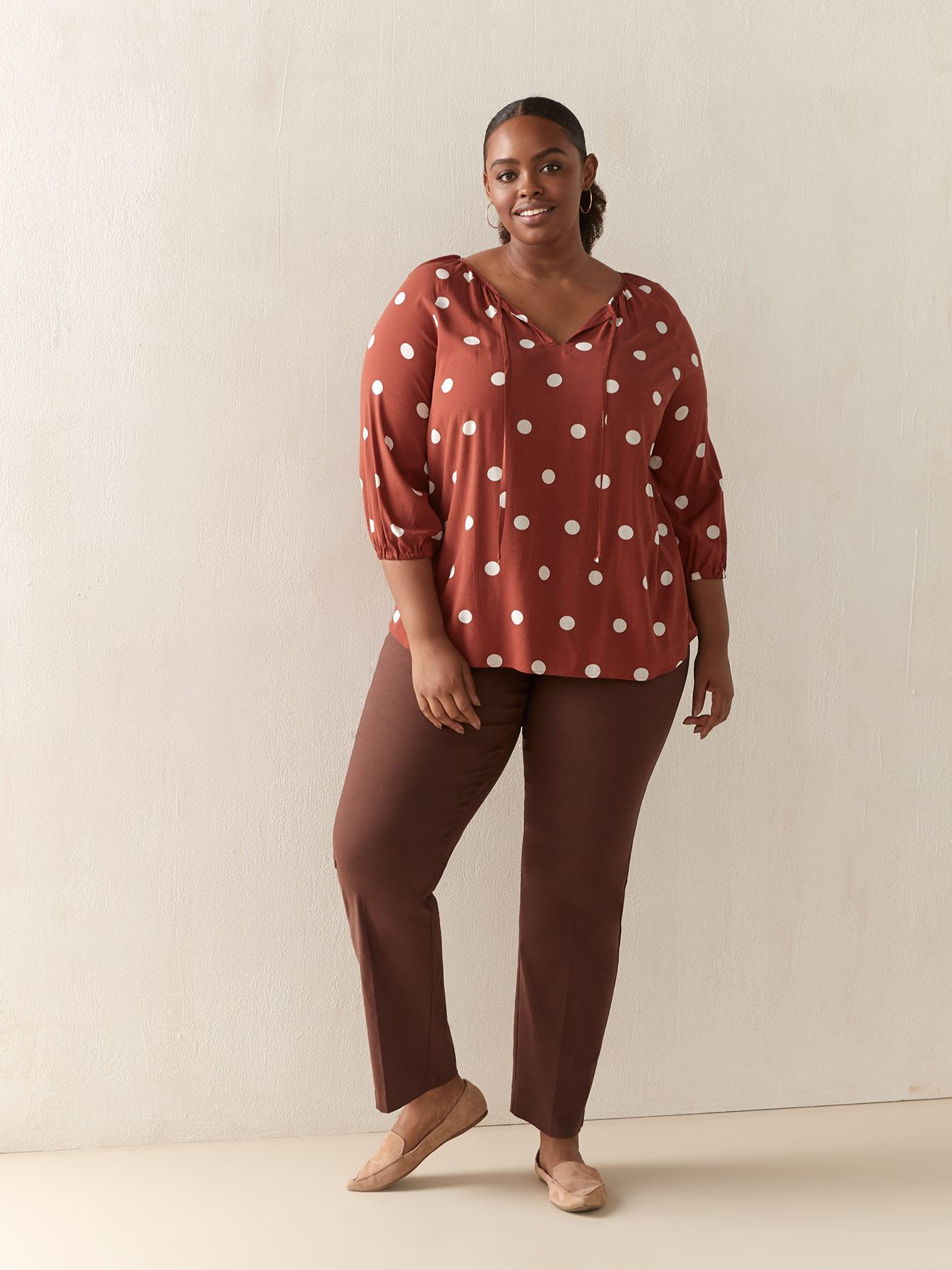 3/4 Printed Blouse with Tassel - In Every Story