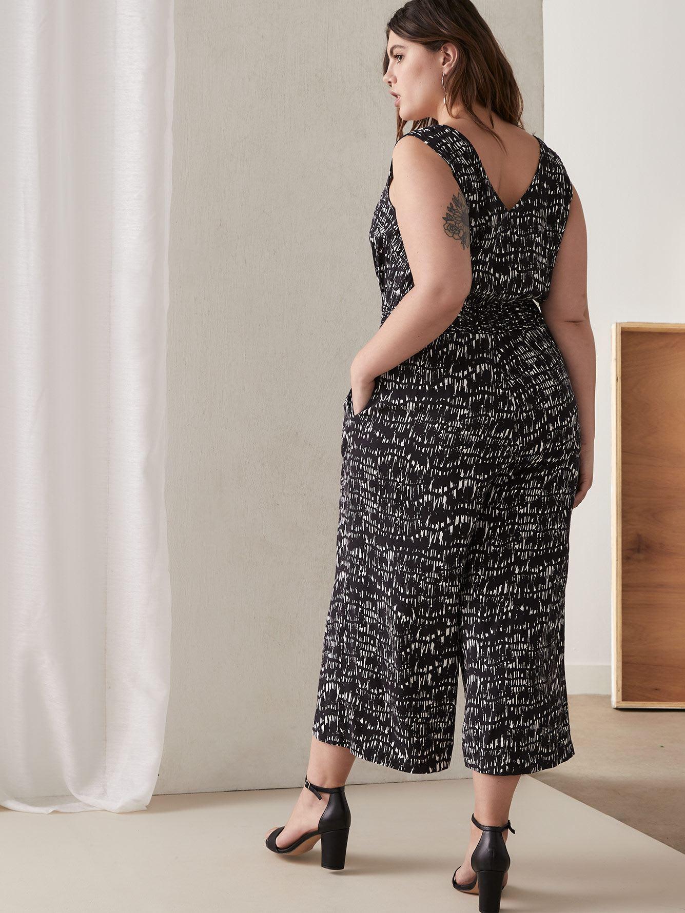 Sleeveless Jumpsuit with Smocked Waist