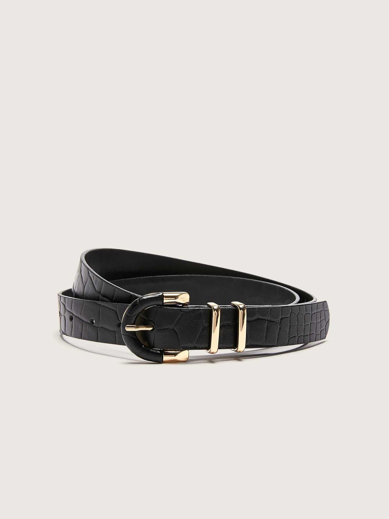Crocodile Leather Belt with Metallic Buckle - Addition Elle