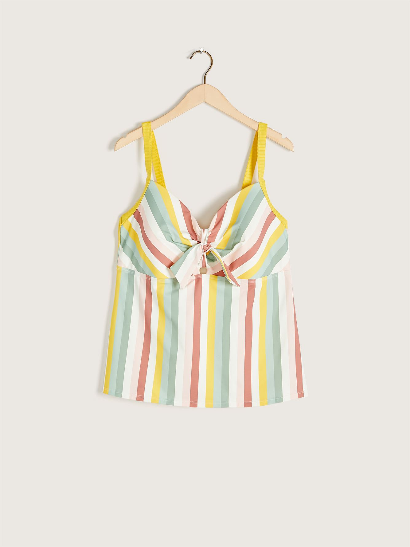Striped Tankini Top with Tie - Addition Elle