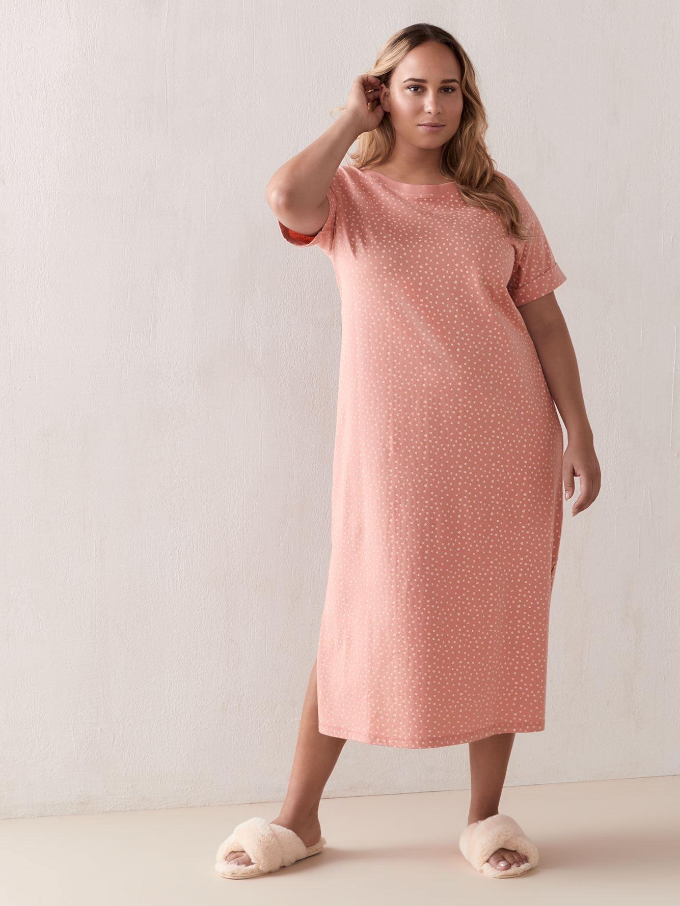 Printed Short Sleeve Sleepshirt - Addition Elle