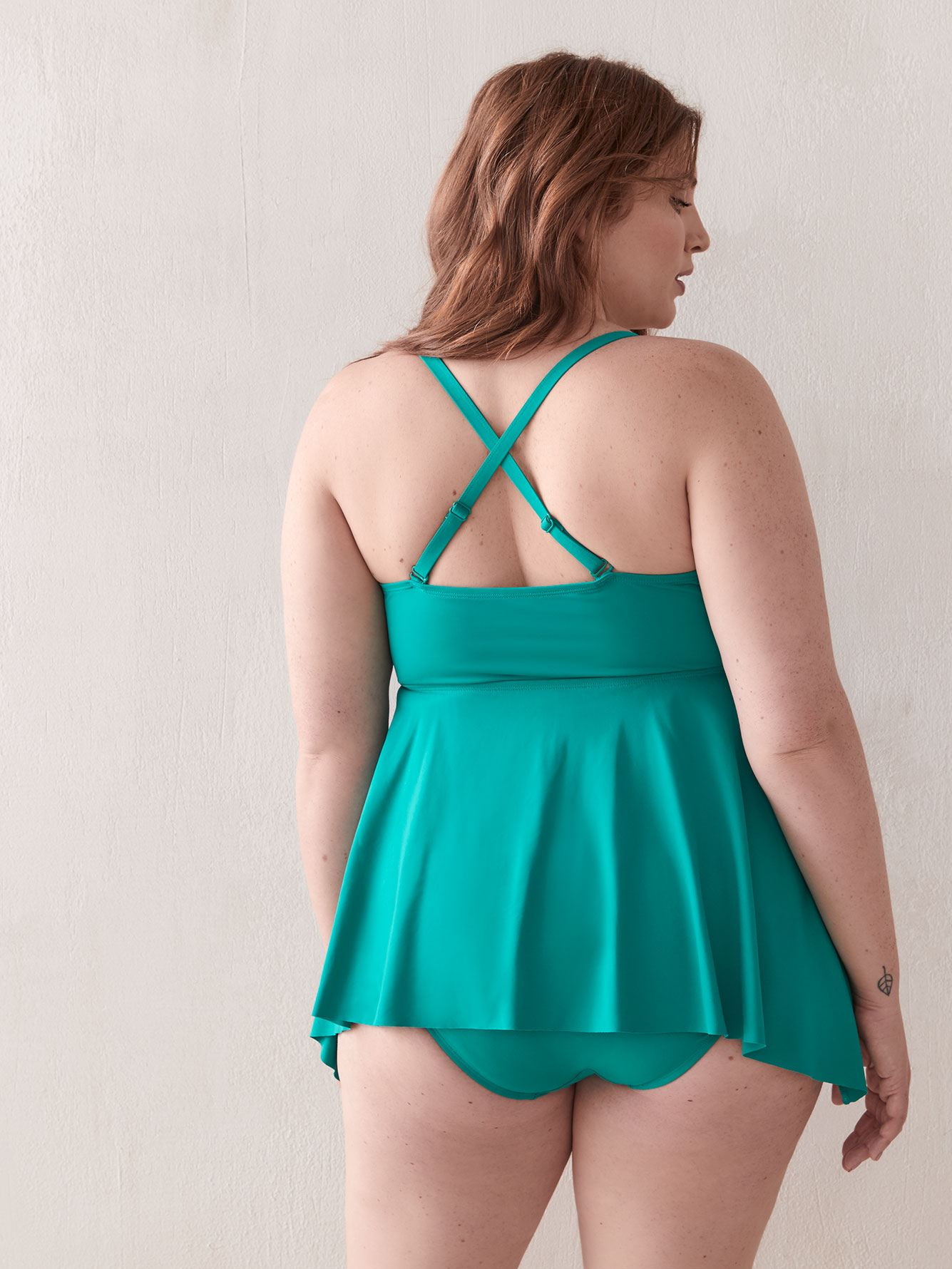 Flared Solid Tankini Top - Addition Elle
