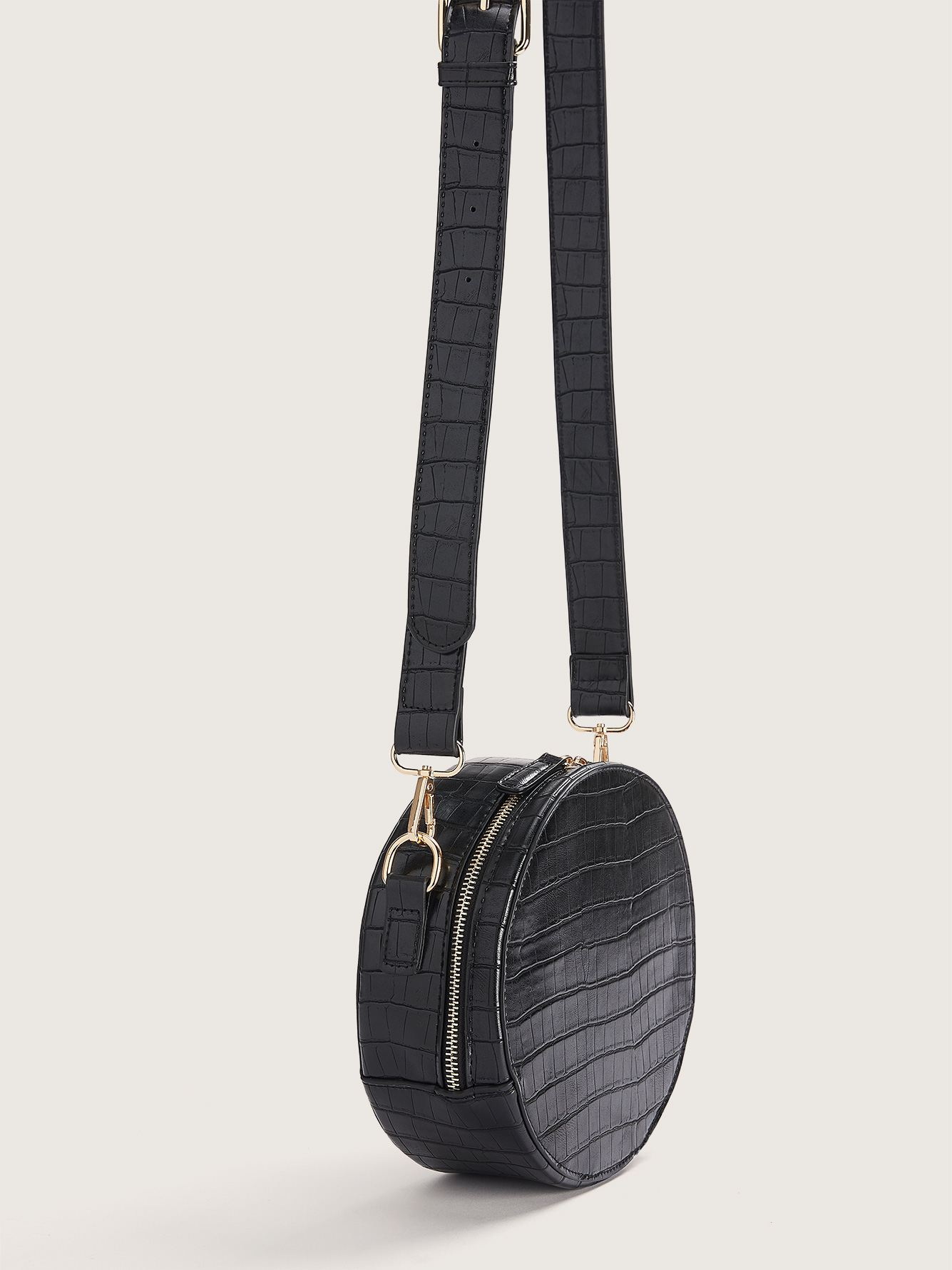 Round Handbag with Crossbody Strap - Addition Elle