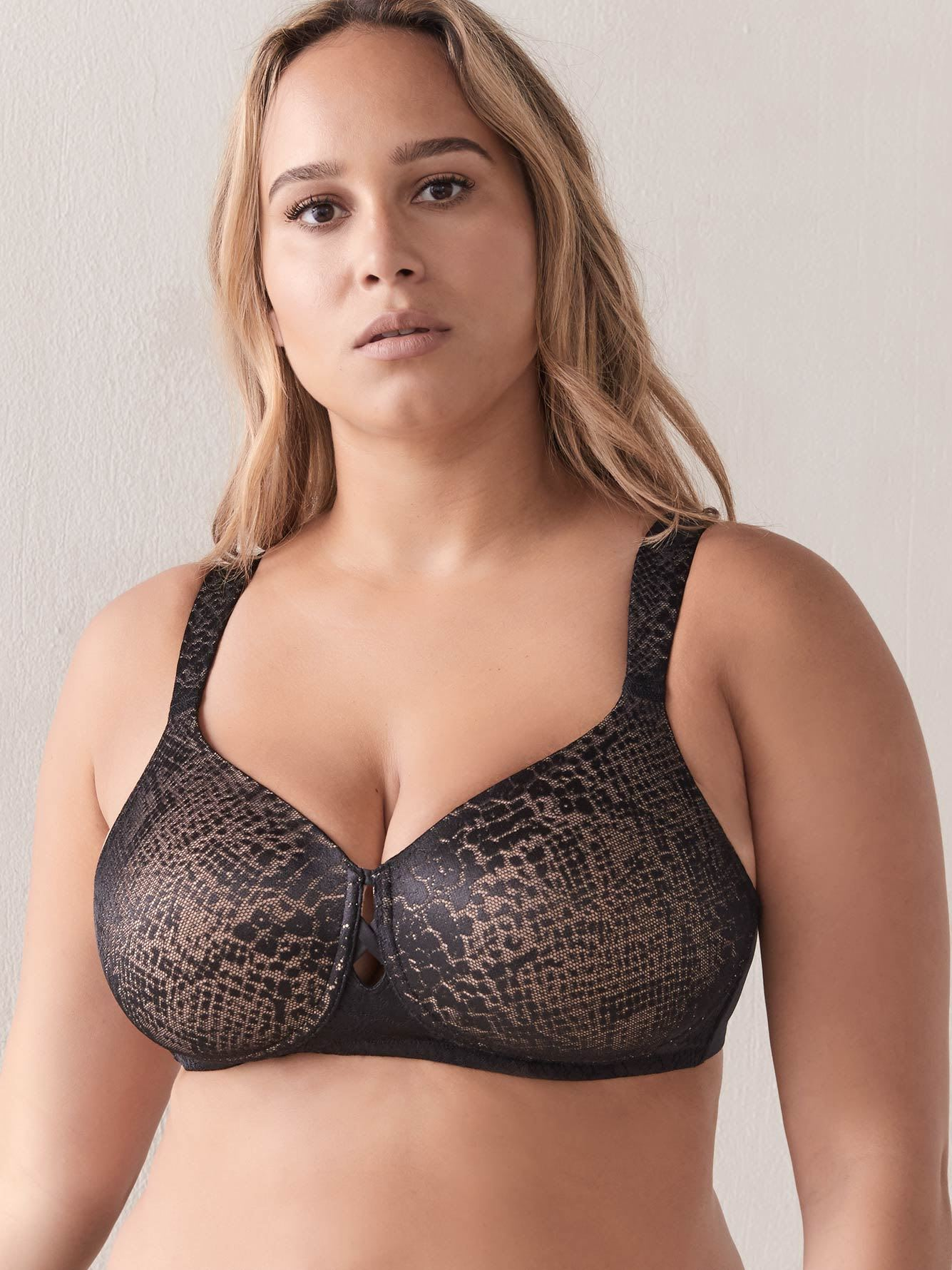 Wirefree Padded Bra with Snakeskin Lace - ti Voglio