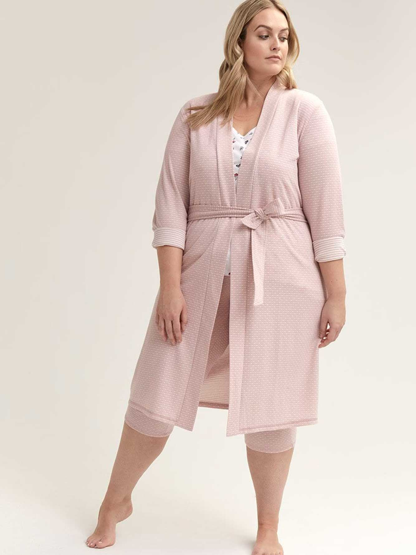 Long Sleeve Lounge Robe with Belt - ti Voglio