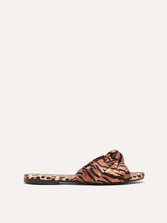 Wide Printed Flat Sandals with Knot