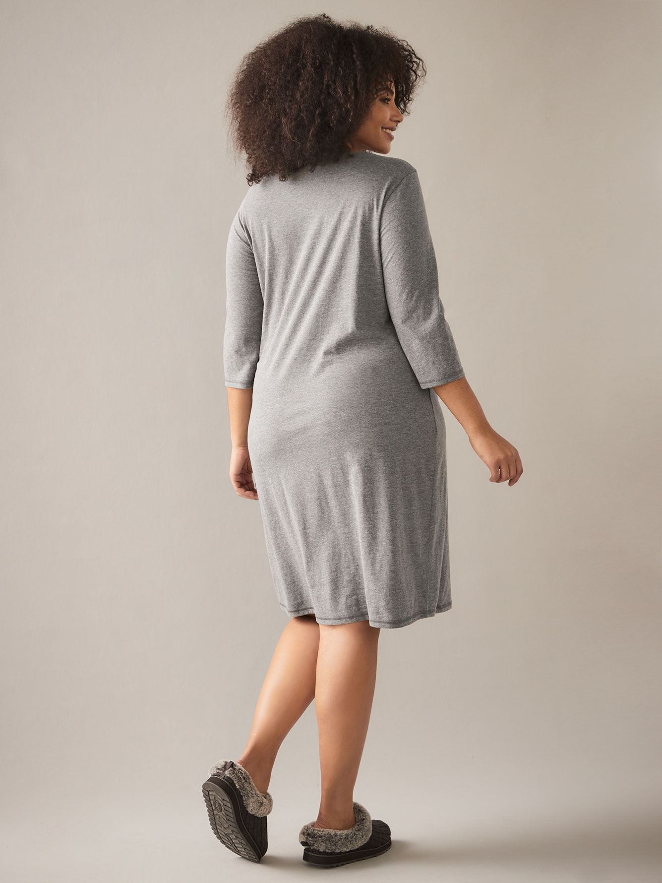 Long Heathered Sleepshirt with 3/4 Sleeves - In Every Story