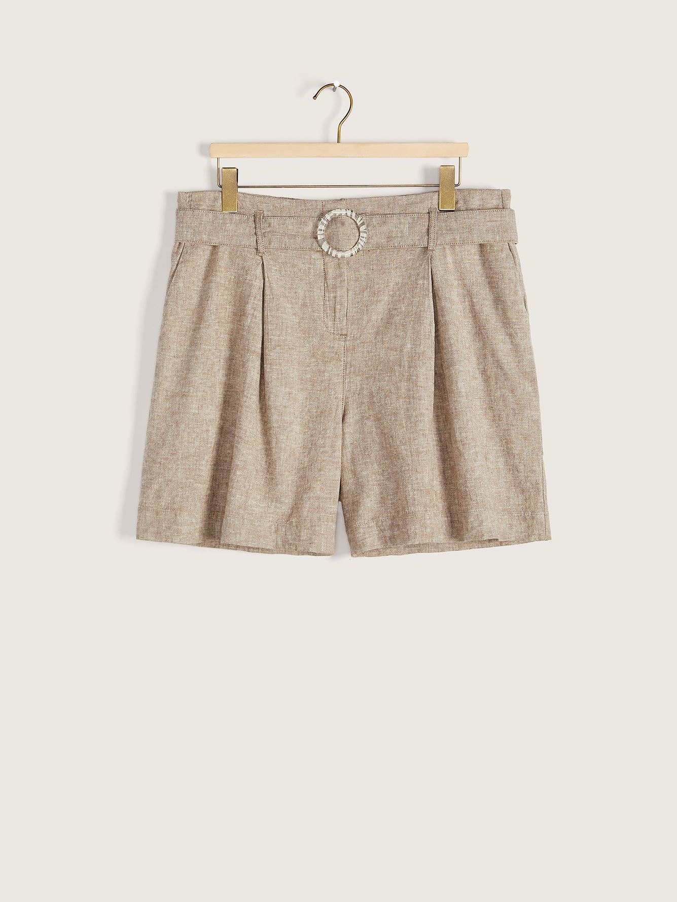 Belted Heathered Linen Shorts - Addition Elle