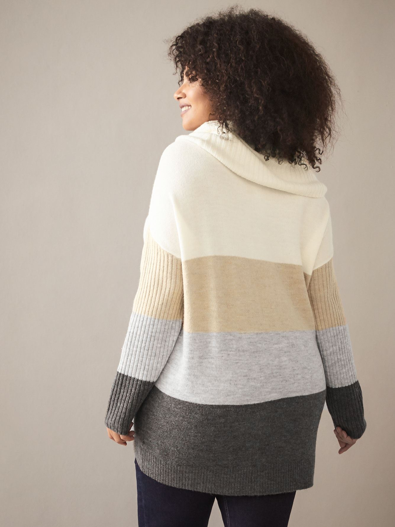 Color Block Cowl-Neck Sweater - In Every Story