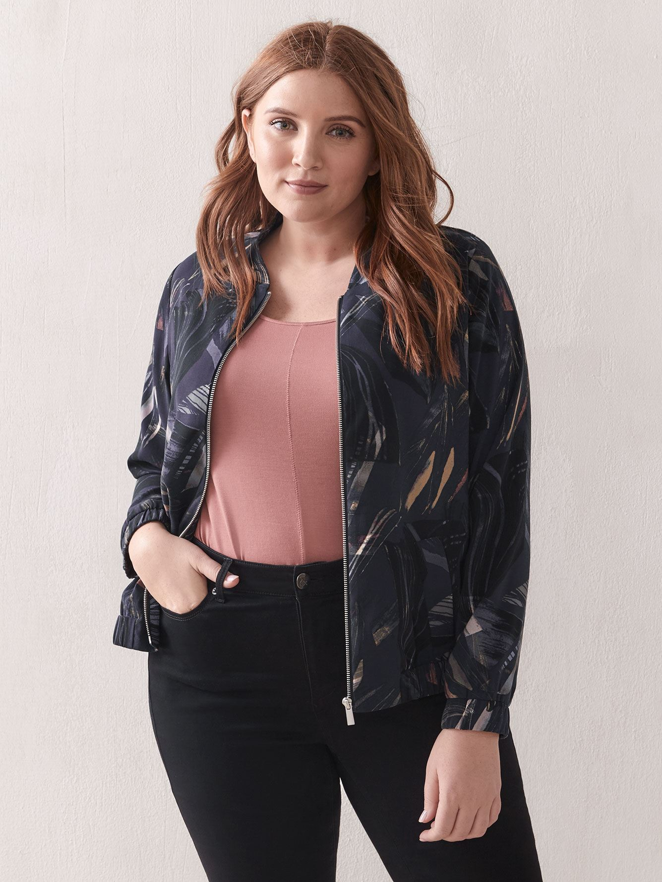 Printed Crepe Bomber Jacket - Addition Elle