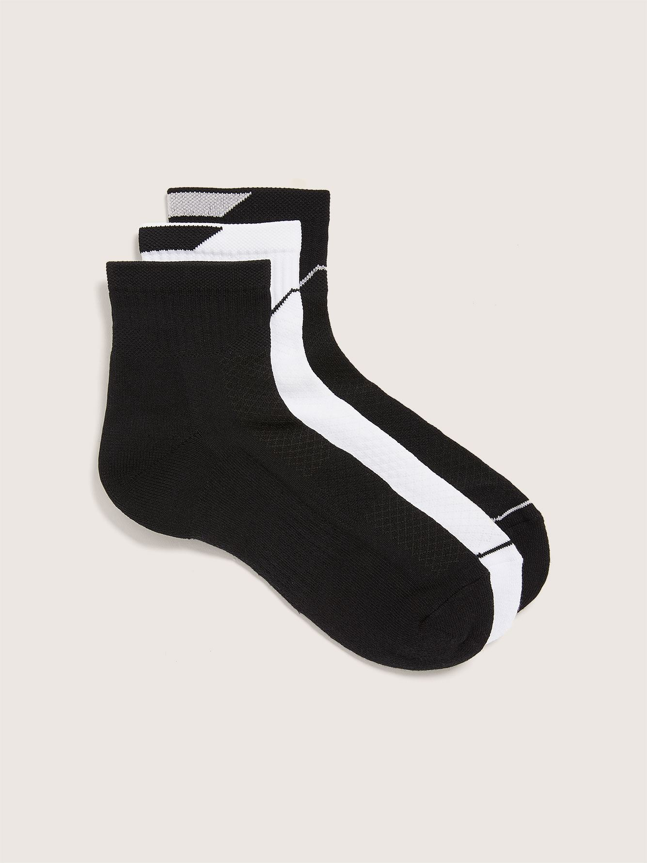 Wide Sports Ankle Socks, Pack of 3 - Addition Elle