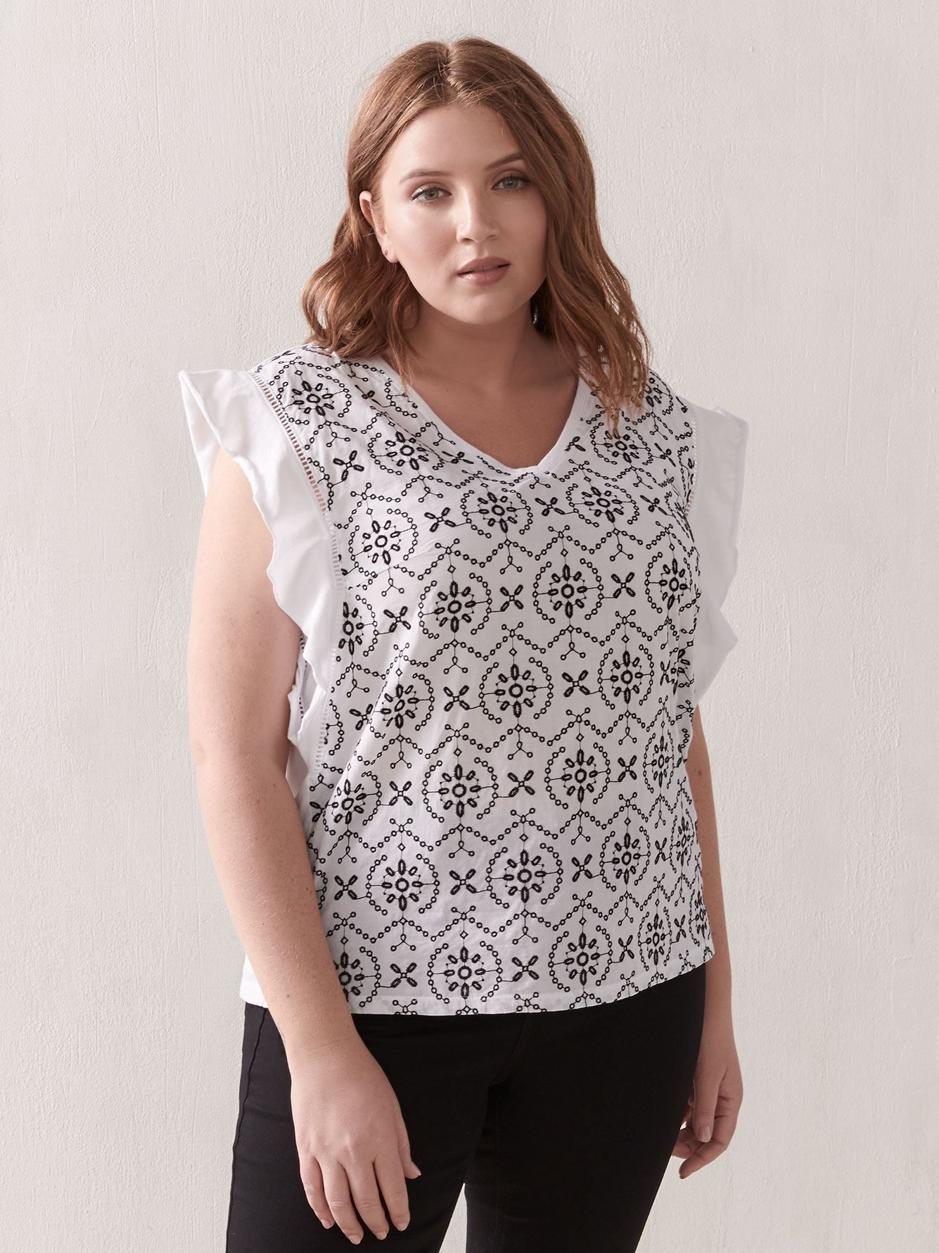 Flutte-Sleeve Mix Media Top - Addition Elle