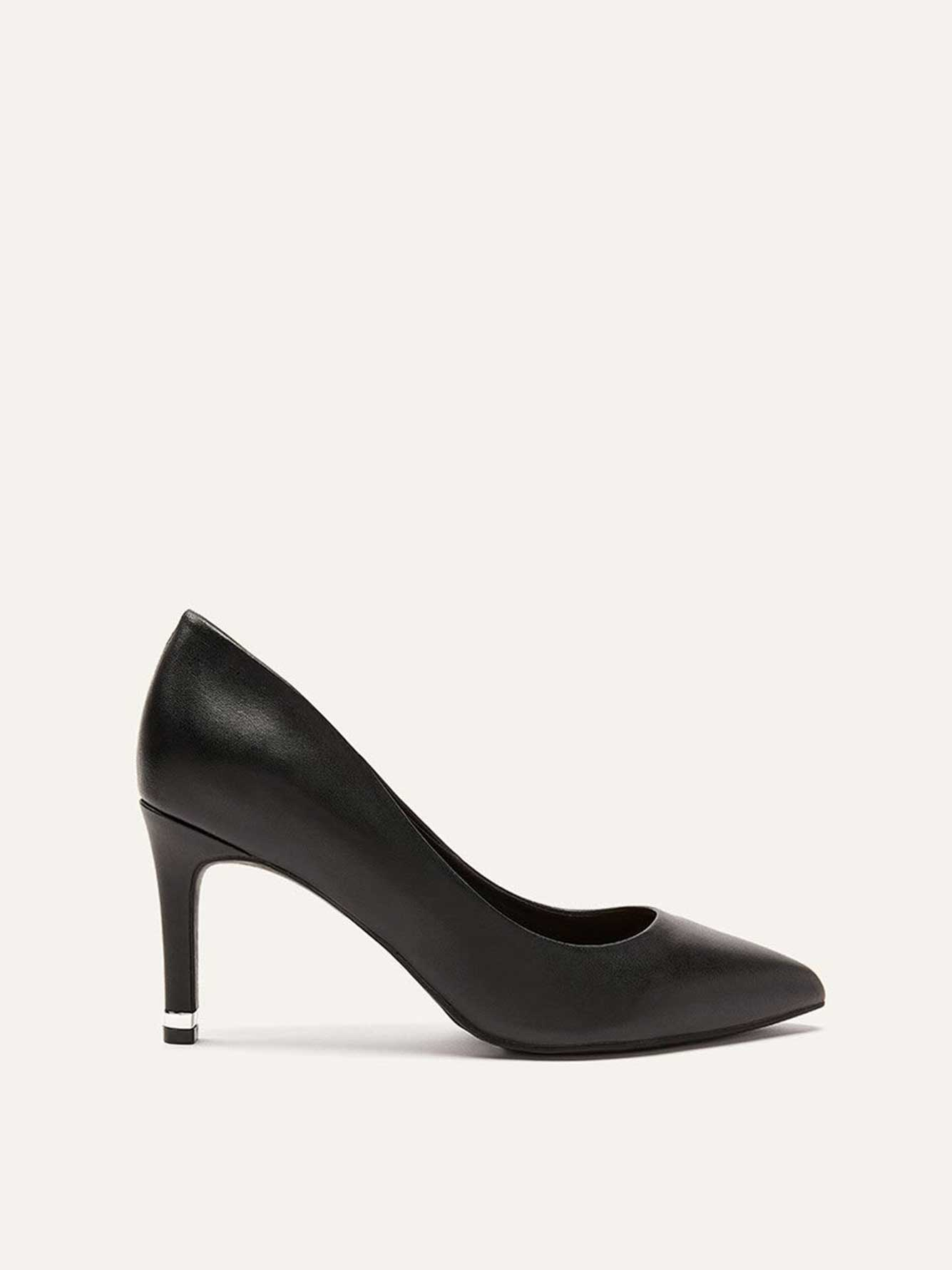 Wide Leather Pump with Metal Trim