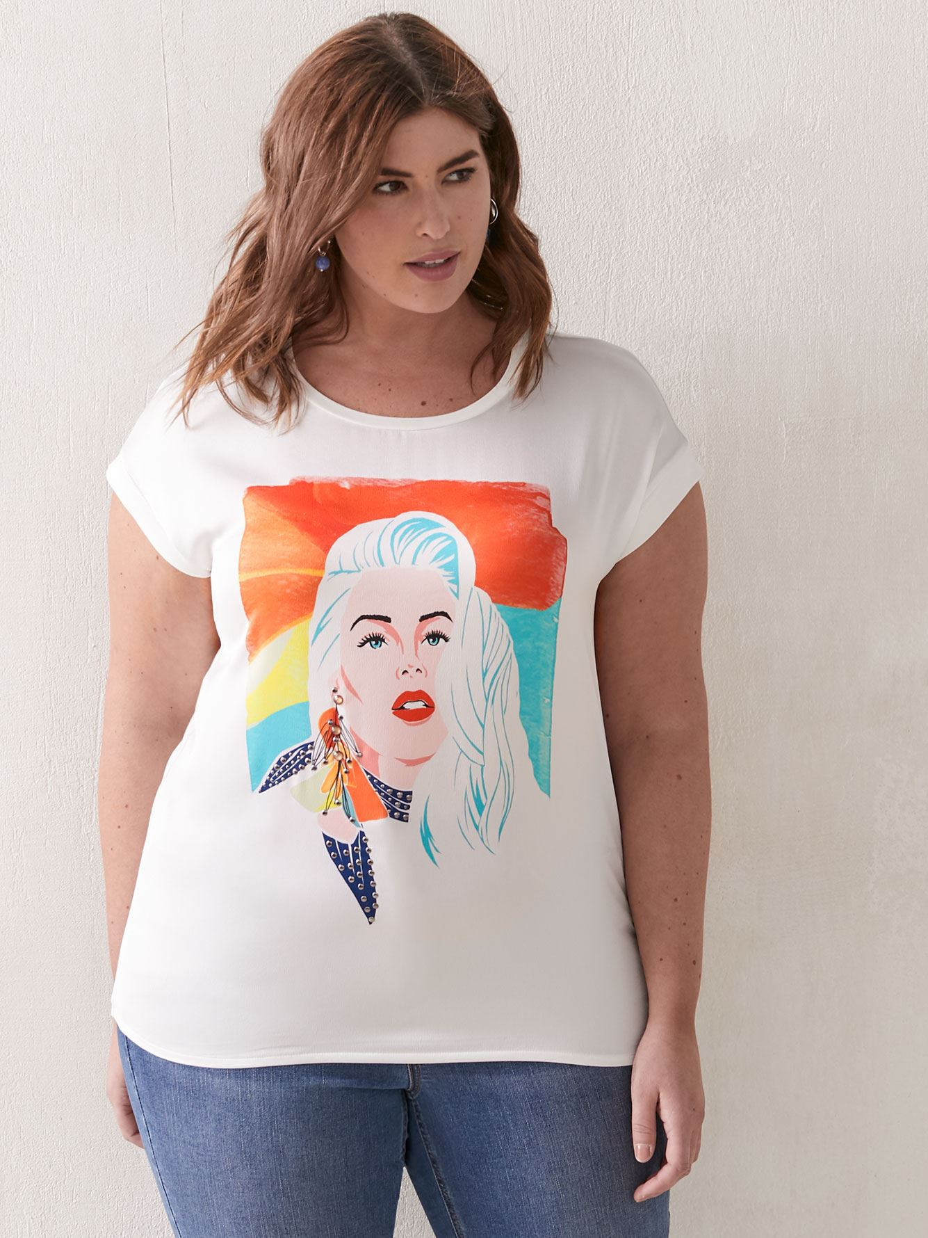 Printed Short Sleeve Crew Neck T-Shirt - Addition Elle