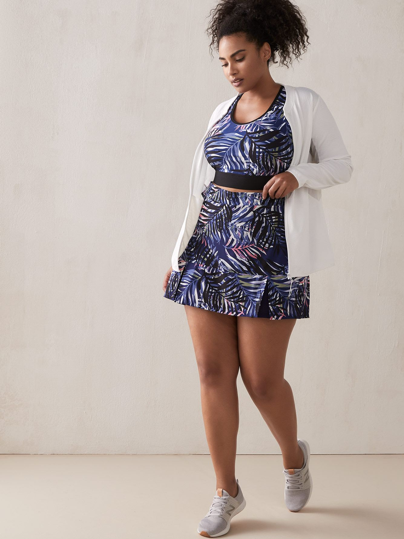 Skort with Print and Pleats
