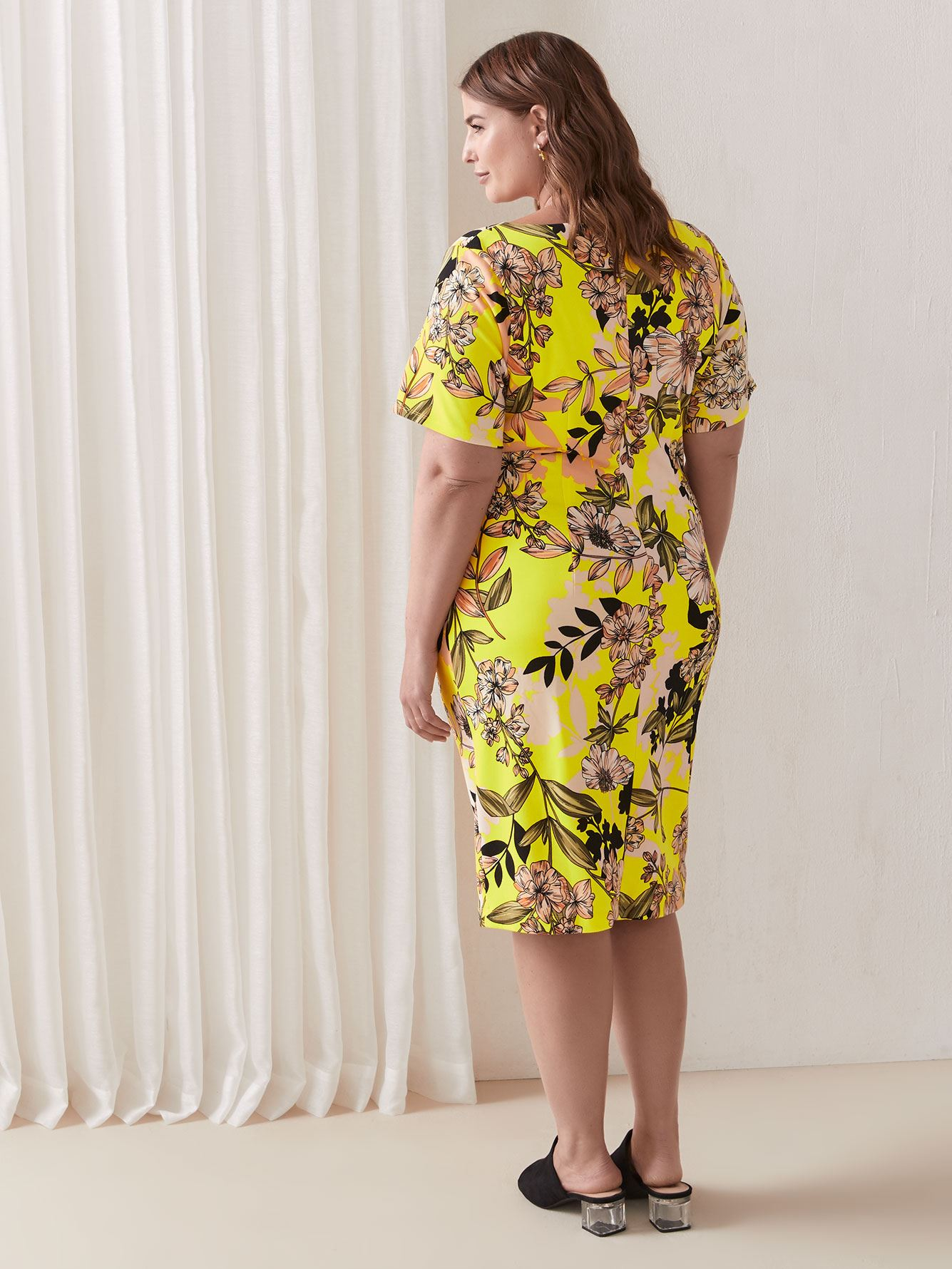Cap Sleeve Floral Bodycon Dress - Christian Siriano