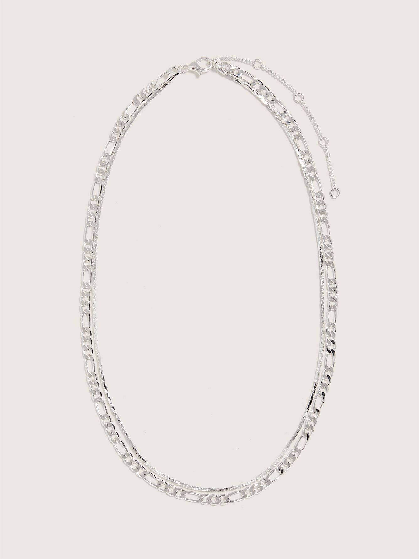 Double Layered Chain Link Necklace - Addition Elle