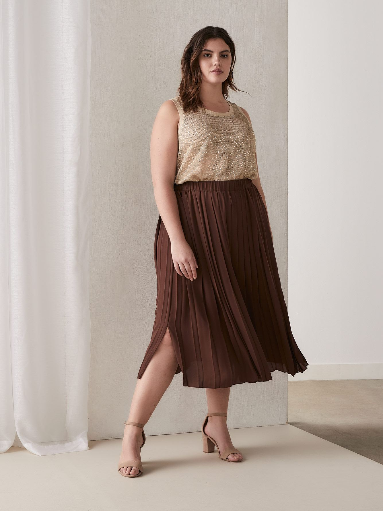 Pleated Chiffon Skirt with Side Slit