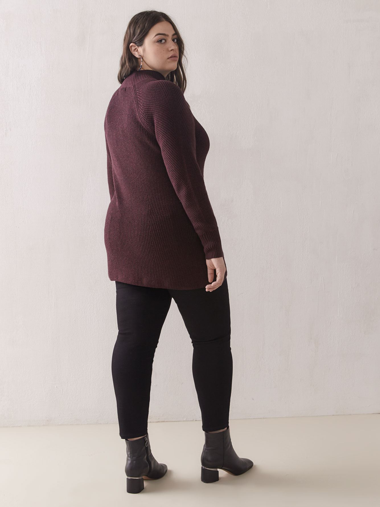 Textured Mock-Neck Sweater - Addition Elle