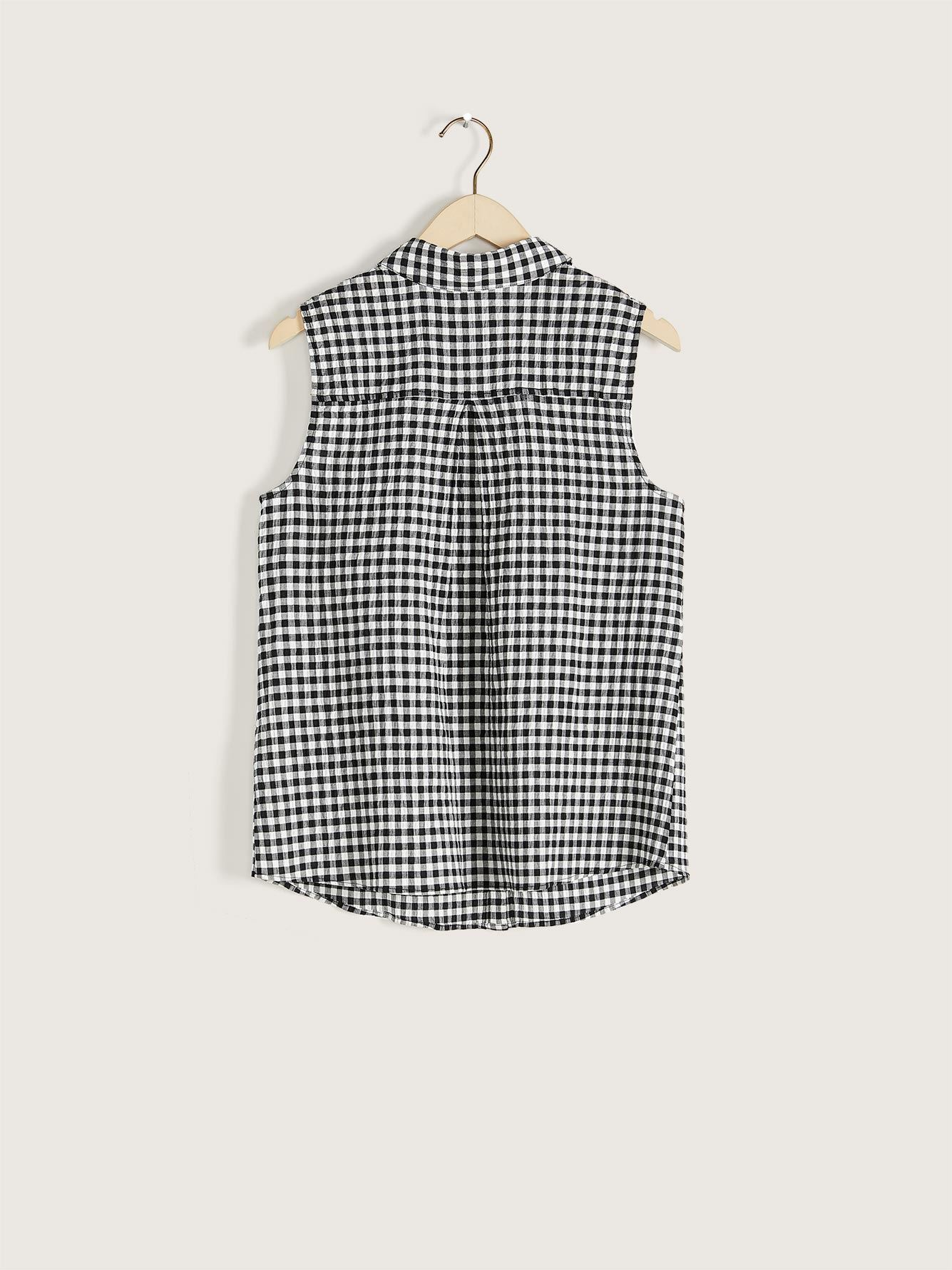 Sleeveless Gingham Shirt - Addition Elle