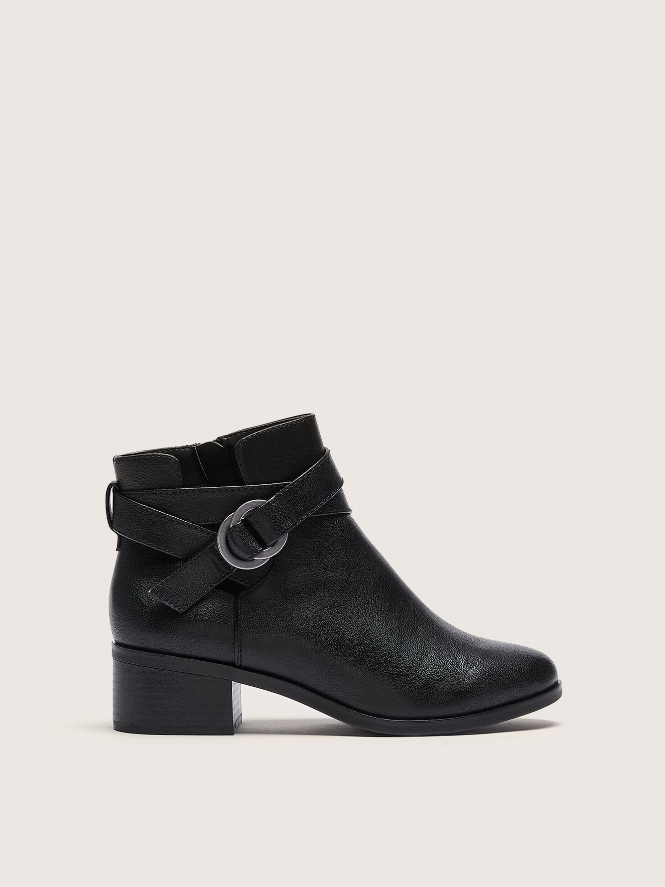 Wide Cross Strap Ankle Bootie - Addition Elle