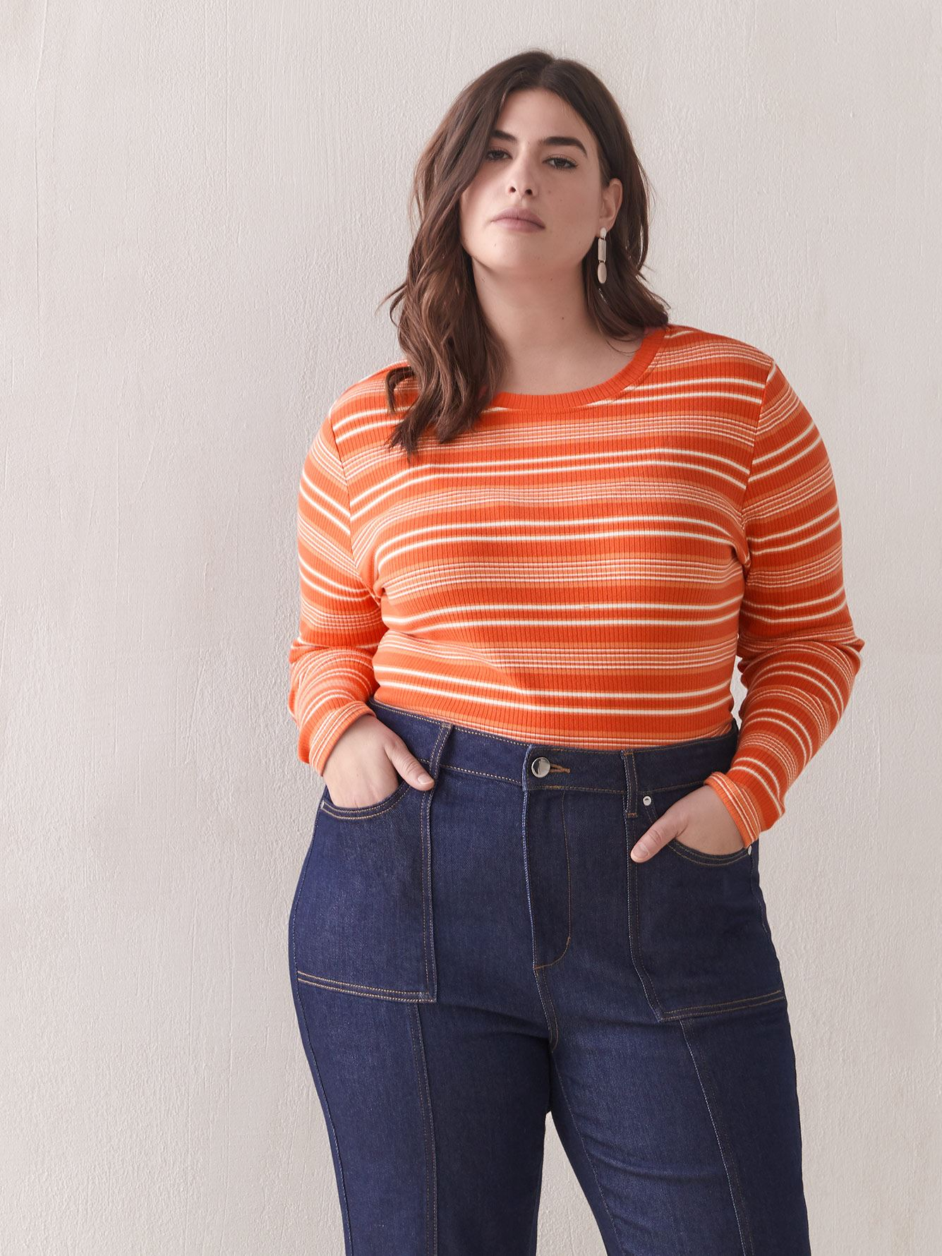 Striped Ribbed-Knit Top - Addition Elle