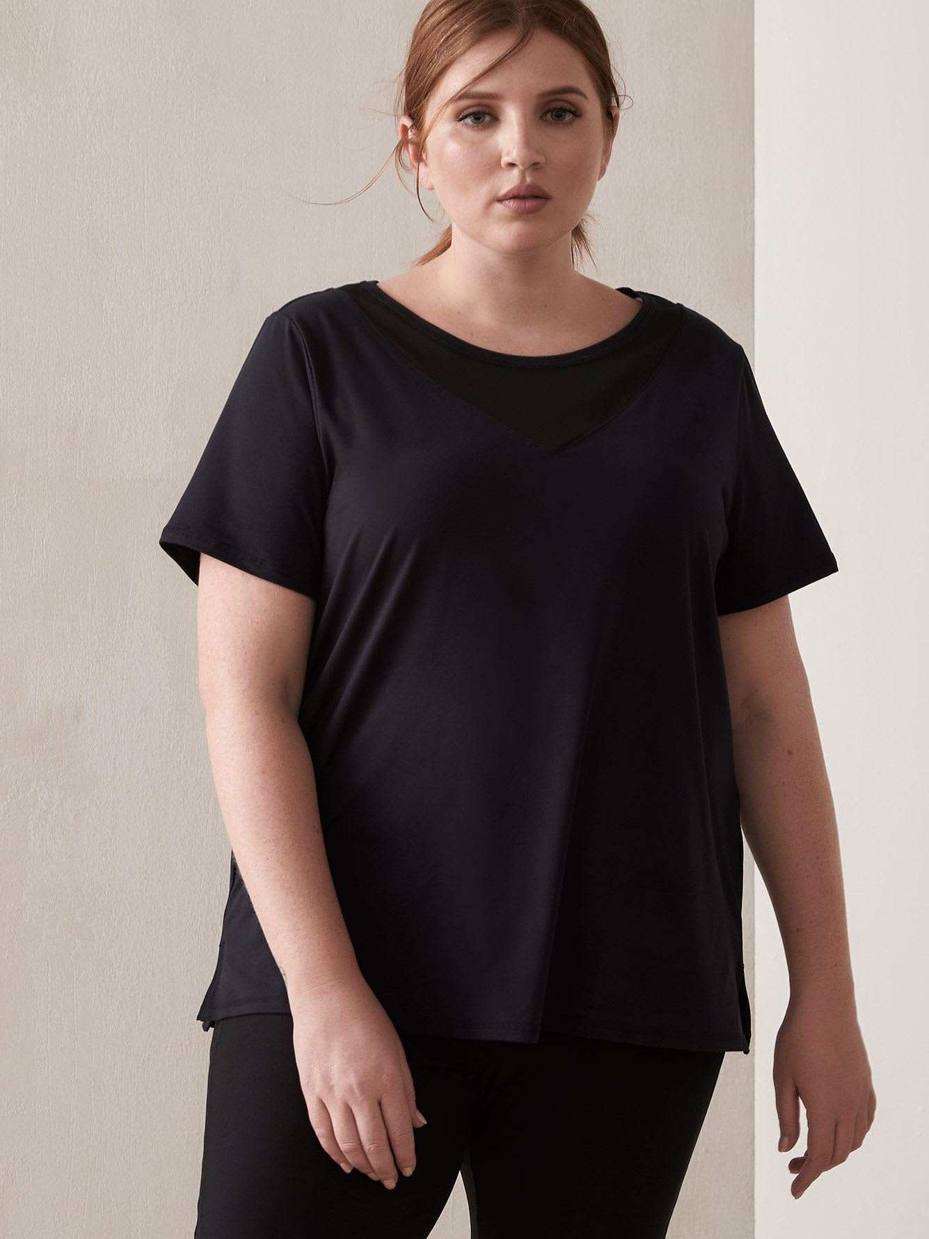 Black Short-Sleeve Top with Mesh Inserts