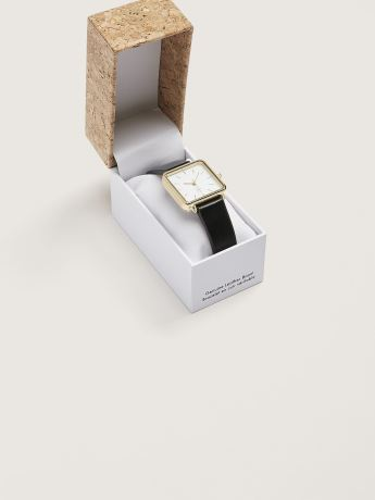 Leather Watch with Square Dial