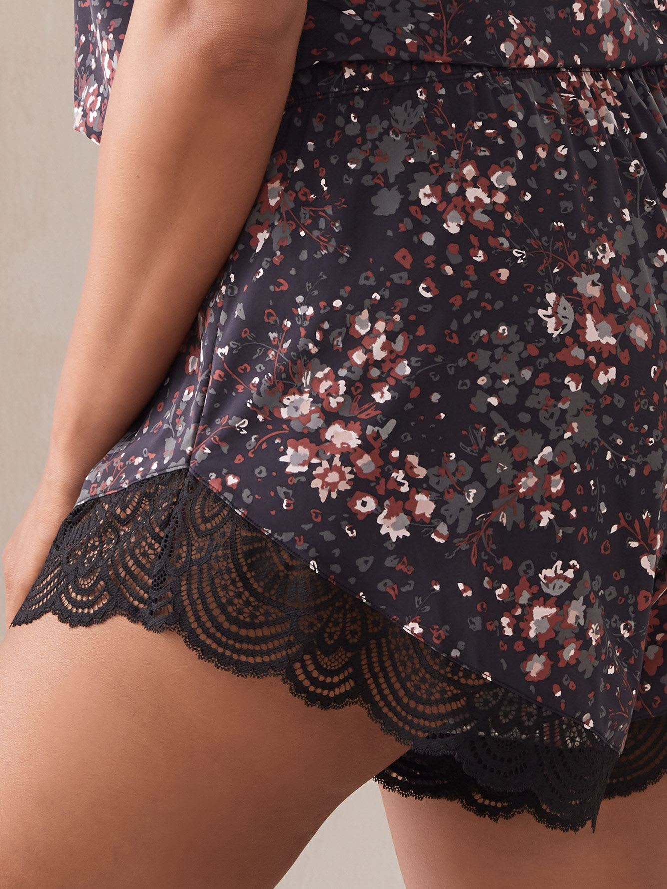 Printed Lounge Shorts with Lace Inserts - Ashley Graham