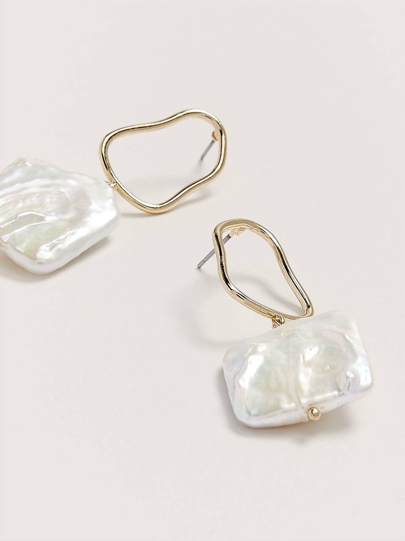 Organic Earrings with Fresh Water Pearl