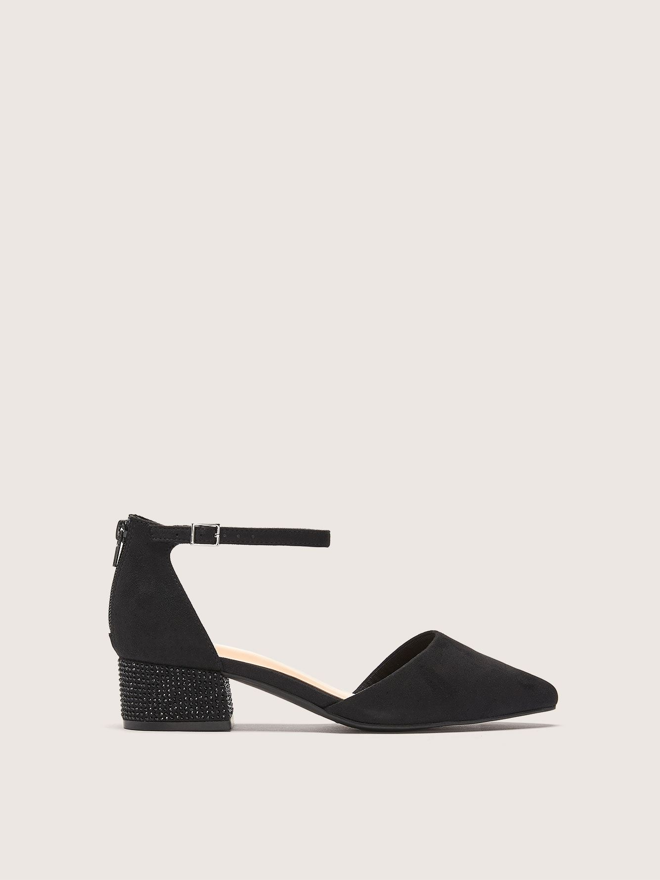 Wide Width Block Heel Pumps with Back Zip - Addition Elle