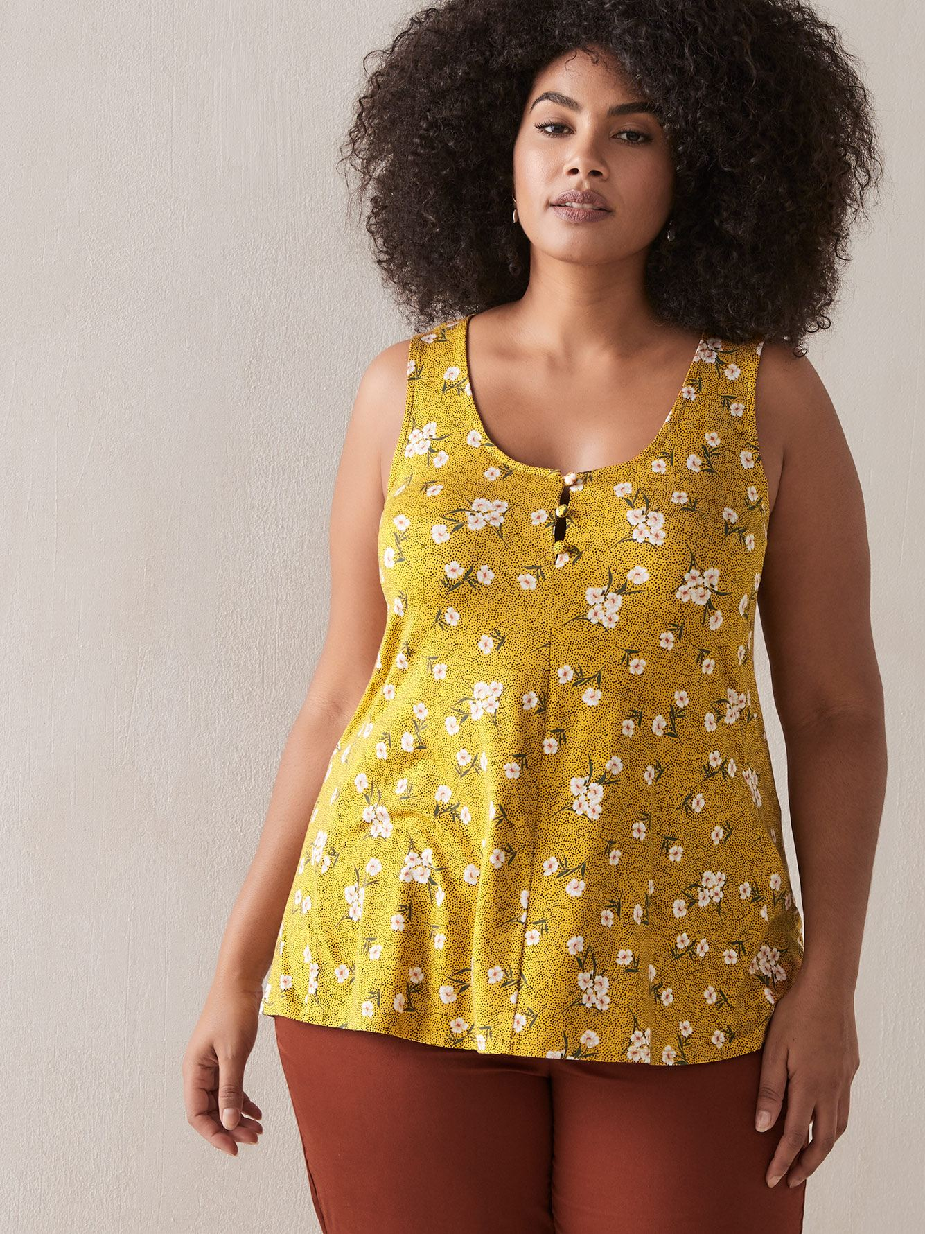 Swing Tank Top with Button-Front