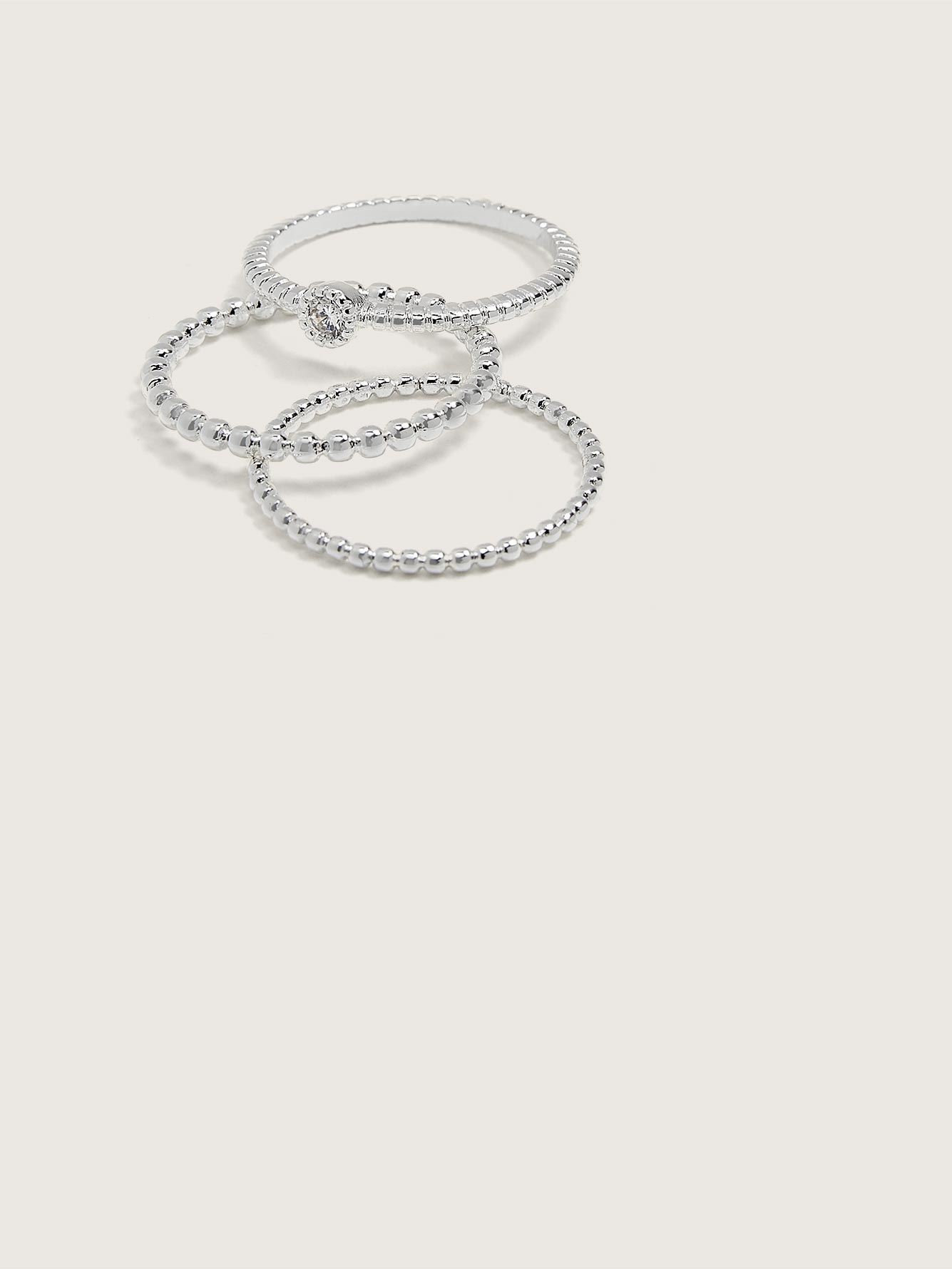 Silver Plated Bead Rings, 3-Pack - Addition Elle
